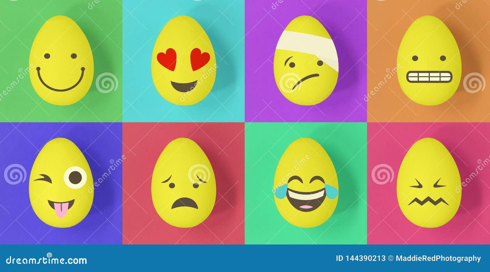 Pasen-emojieieren op een kleurrijke achtergrond van vierkanten