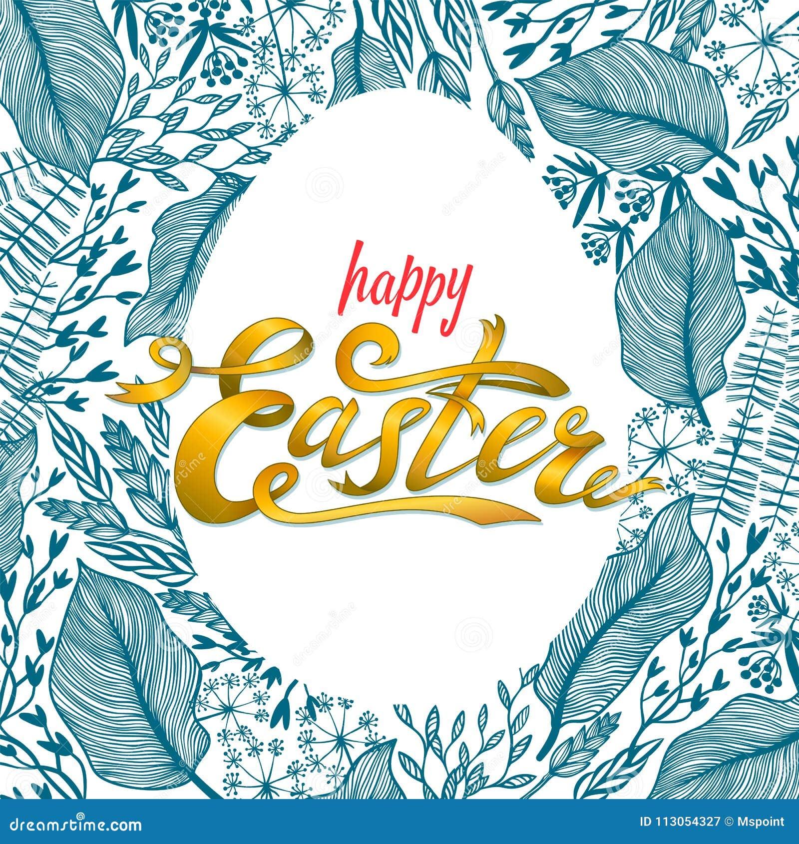 Pasen-groetkaart met bloemenkader in eivorm Kruiden achtergrond Perfectioneer voor de kaarten van de seizoengroet en banners