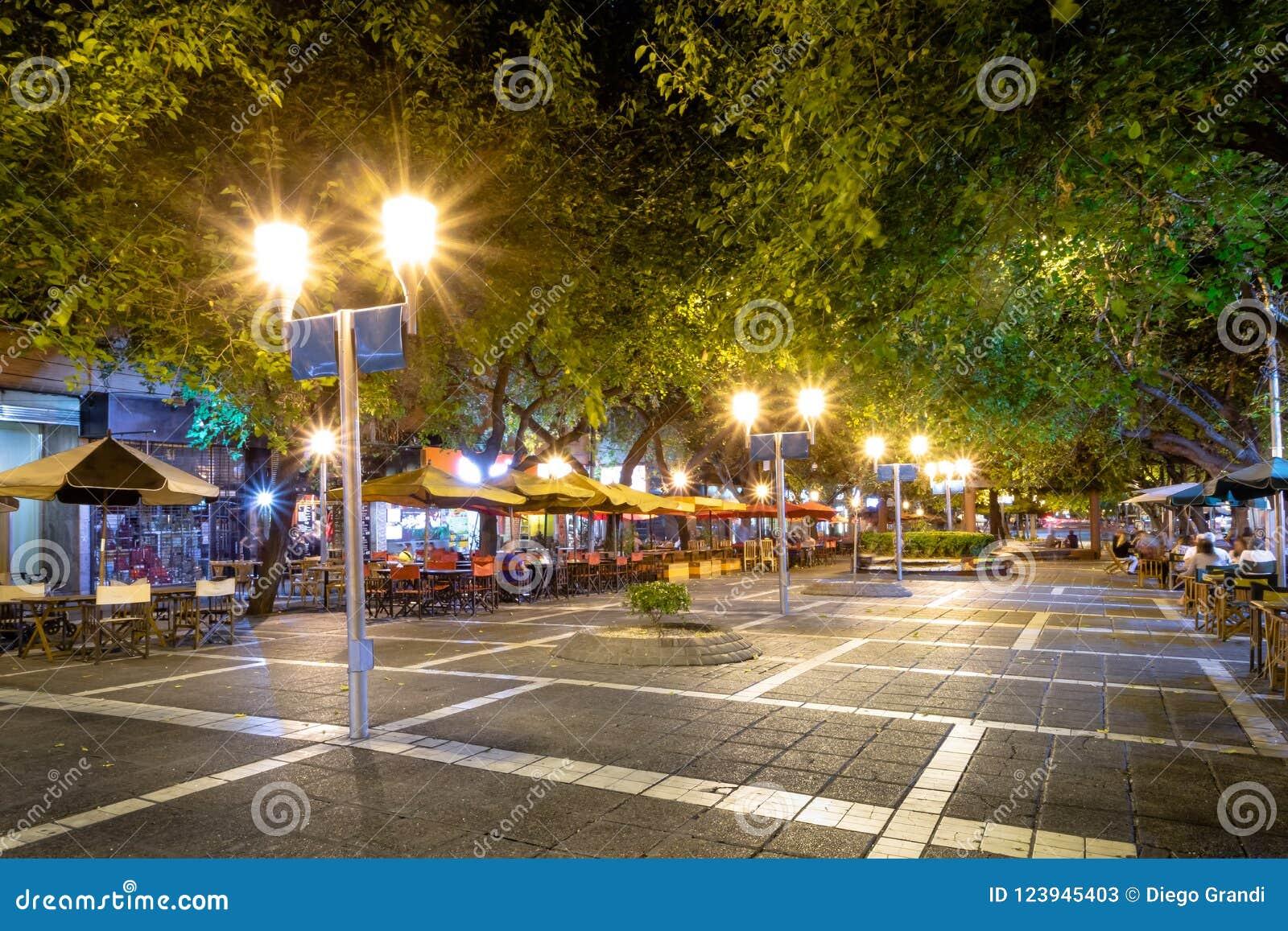 Paseo萨缅托步行街道在晚上- Mendoza,阿根廷