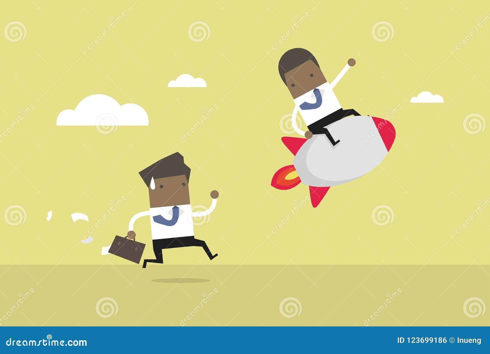 Paseo africano del hombre de negocios el cohete, concepto de la competencia del negocio Ventaja competitiva