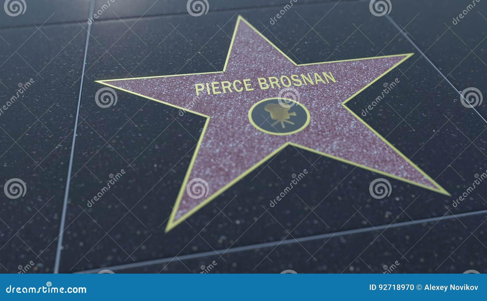 Paseo de Hollywood de la estrella de la fama con la inscripción de PIERCE BROSNAN Representación editorial 3D
