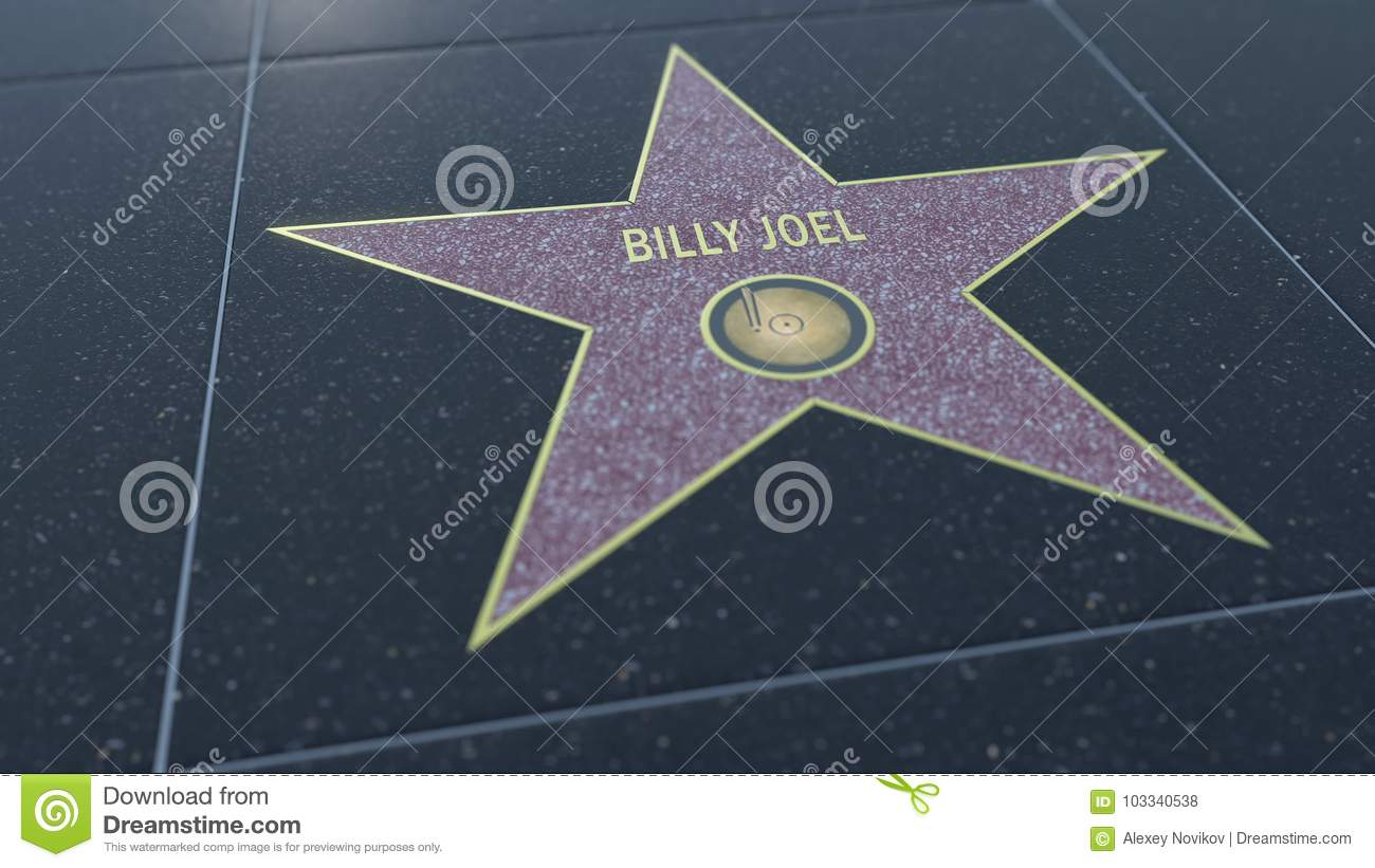 Paseo de Hollywood de la estrella de la fama con la inscripción de BILLY JOEL Representación editorial 3D