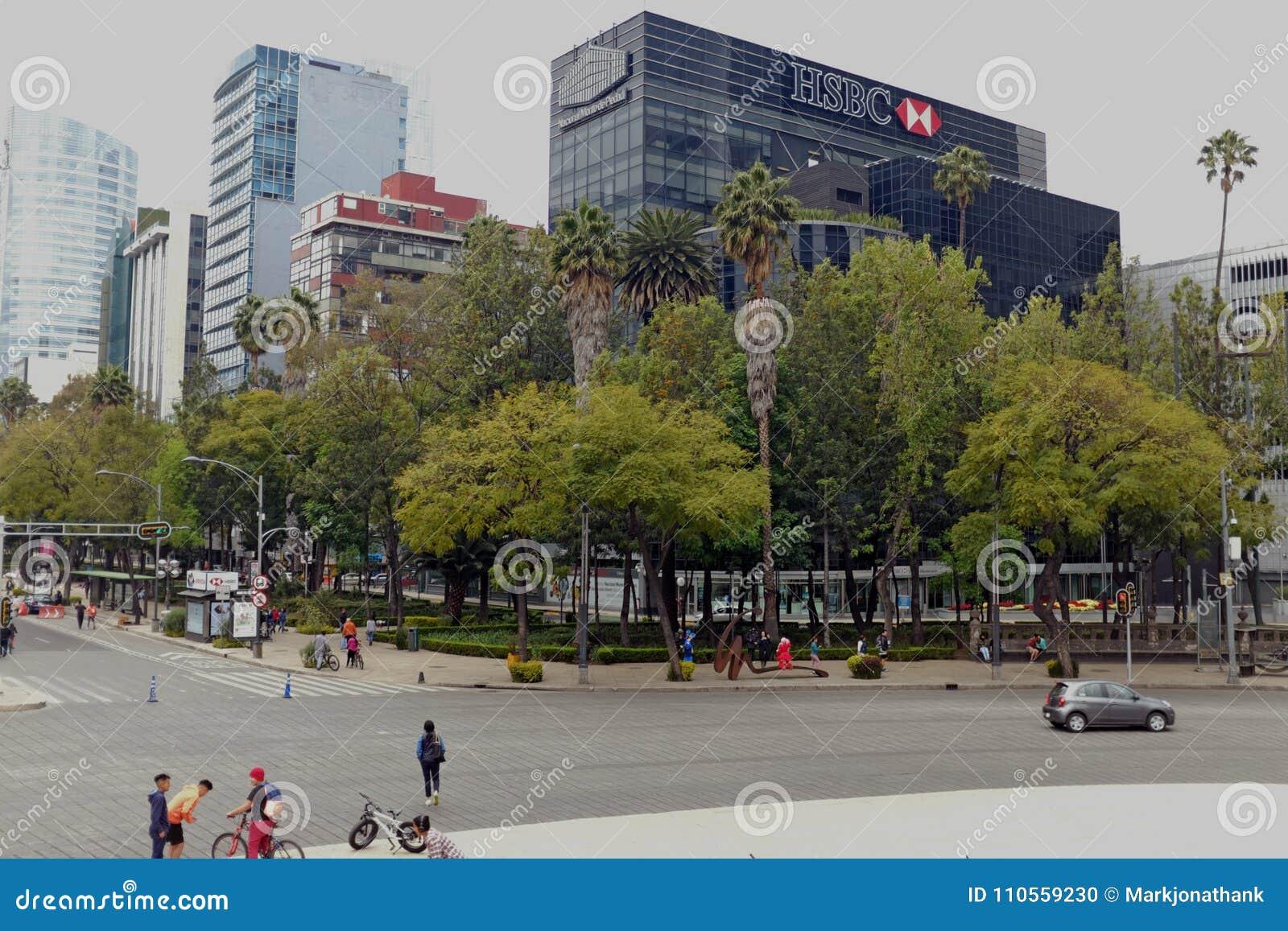 HSBC Bank On Paseo De La Reforma In Mexico City, Mexico  Editorial