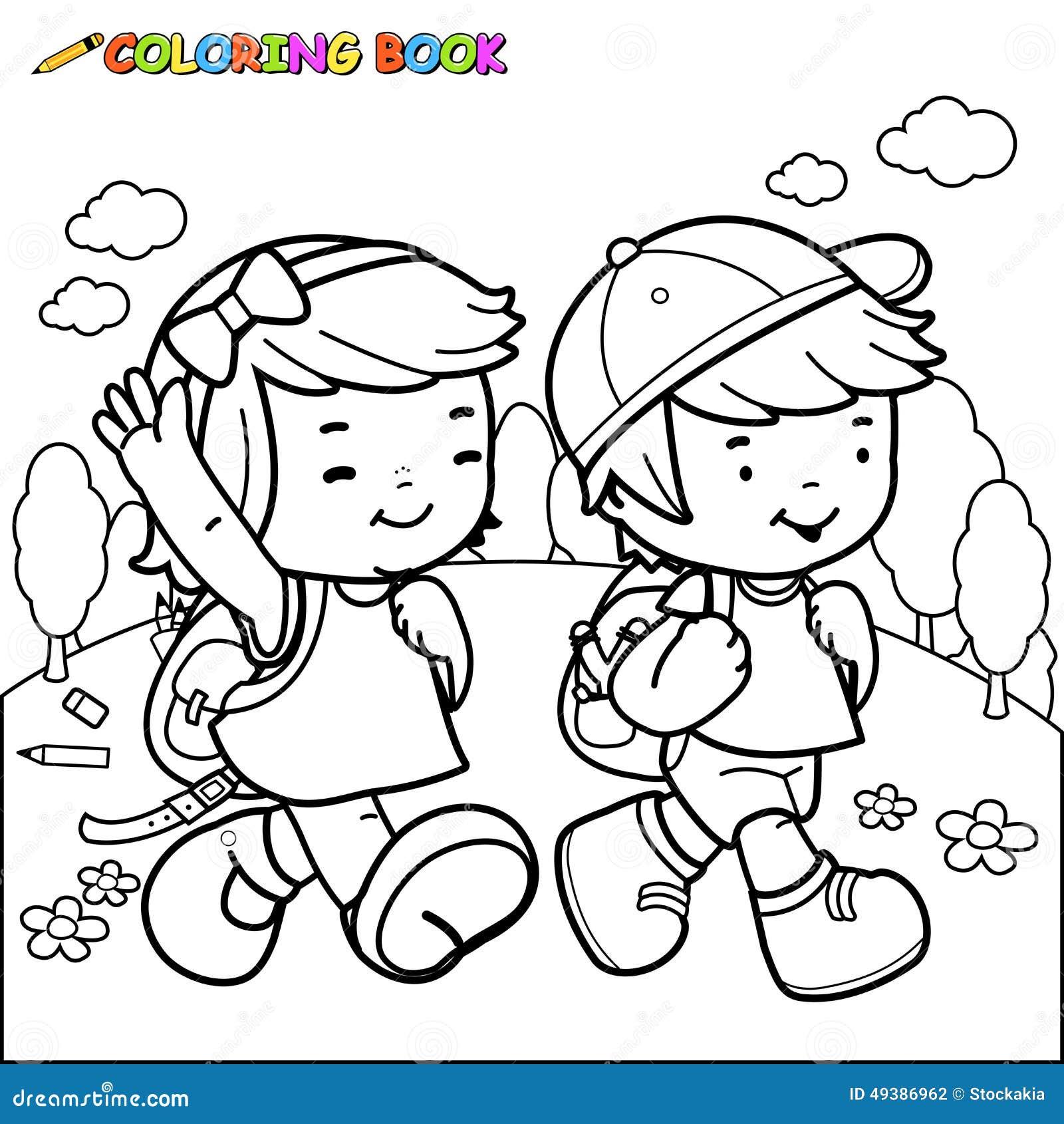 Line Art Studio Karawaci : Paseo de los niños del libro colorear a la escuela