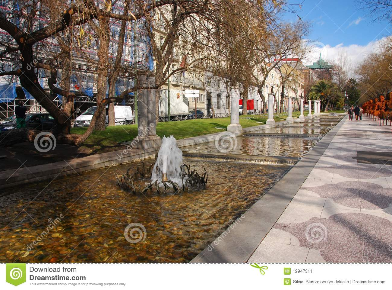 Paseo De Recoletos Madrid Spain Stock Image Image Of Small