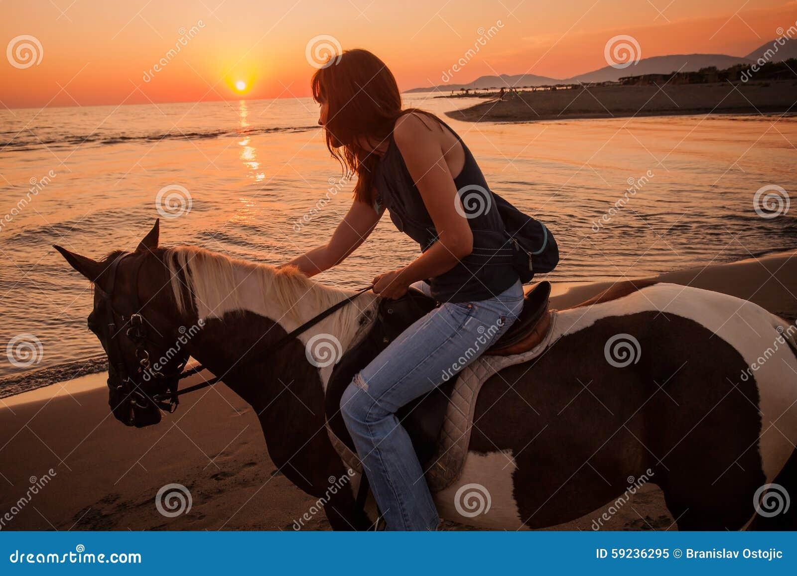 Download Paseo Del Caballo En La Puesta Del Sol Imagen de archivo - Imagen de guardabosques, caballo: 59236295