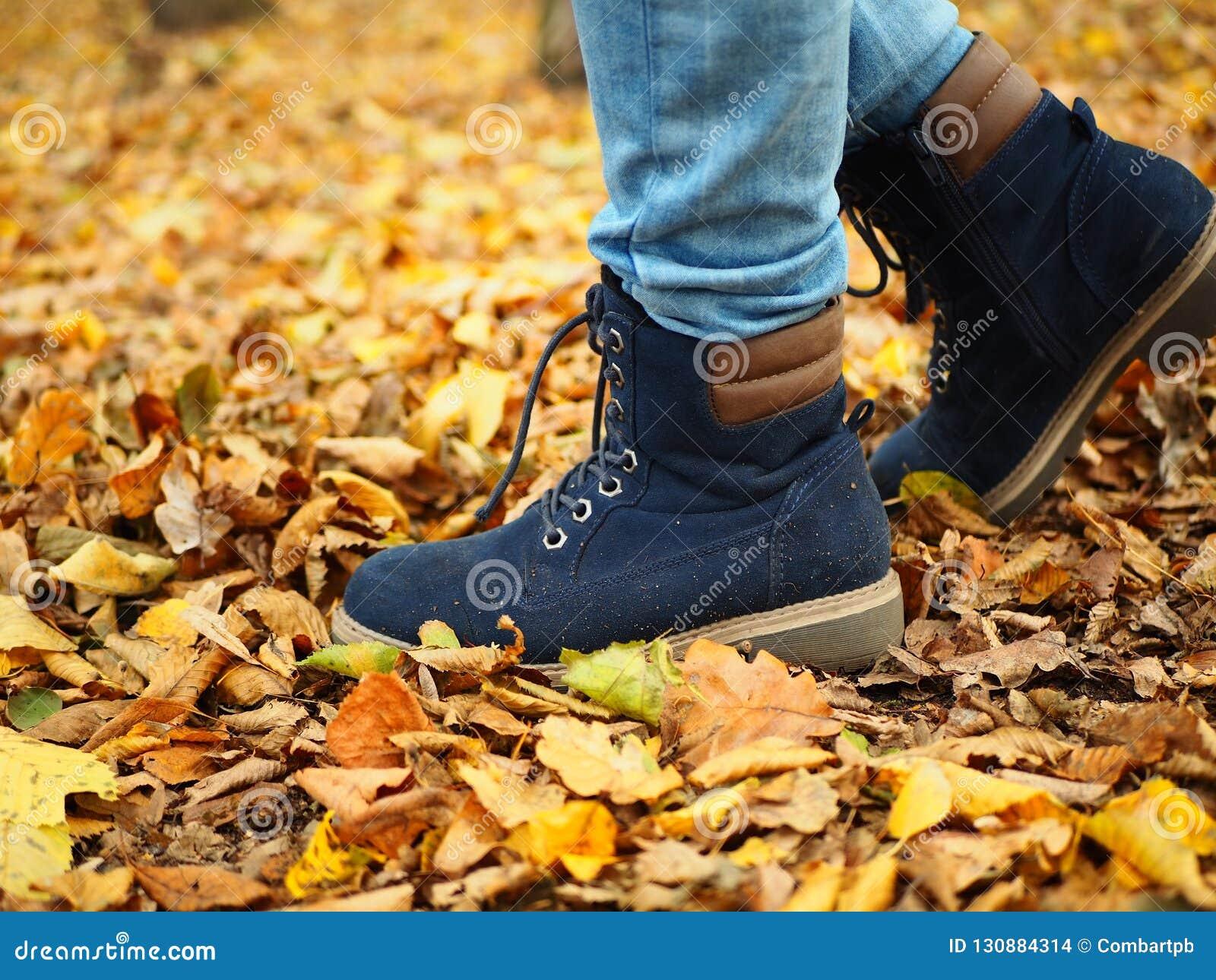 Paseo del niño en el parque, trayectoria por completo de las hojas, solamente piernas visibles