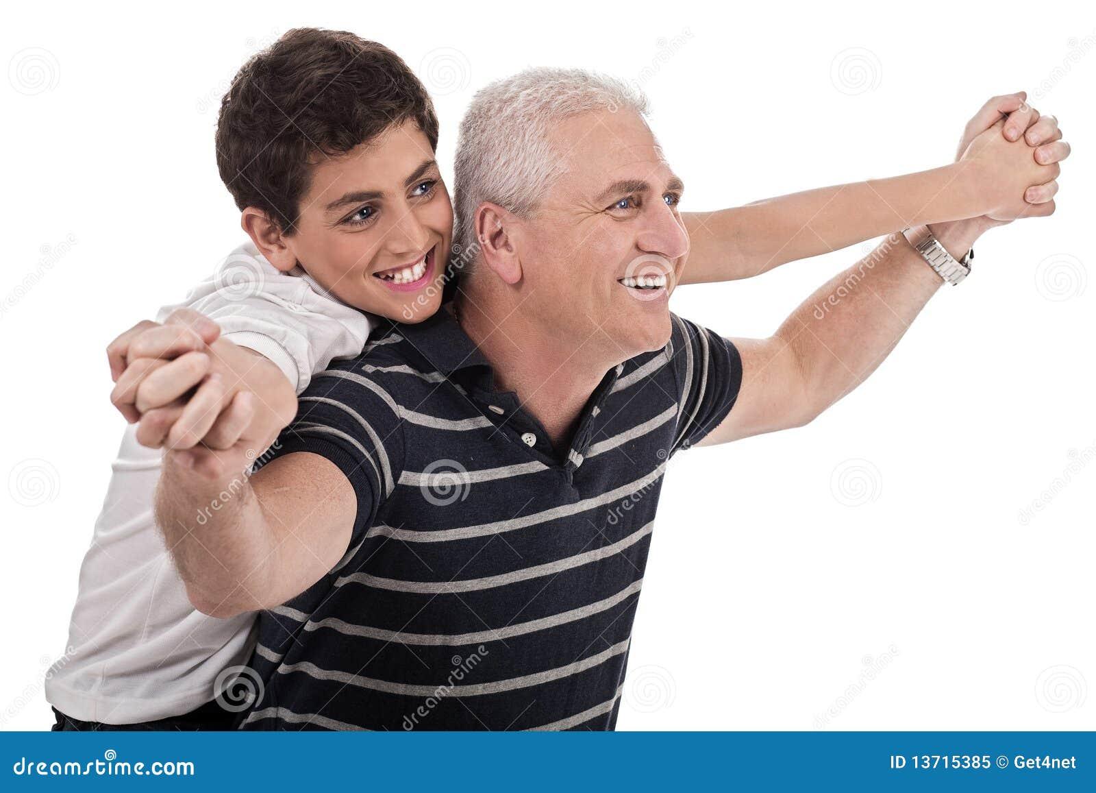 Abuelos Guarros paseo el de lengüeta dado por el abuelo imagen de archivo