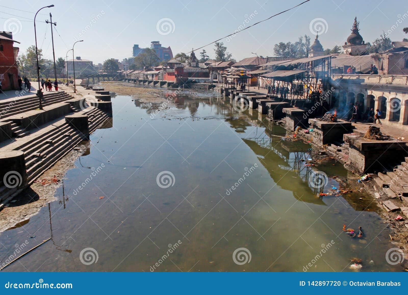 Pashupatinath寺庙在有河的加德满都