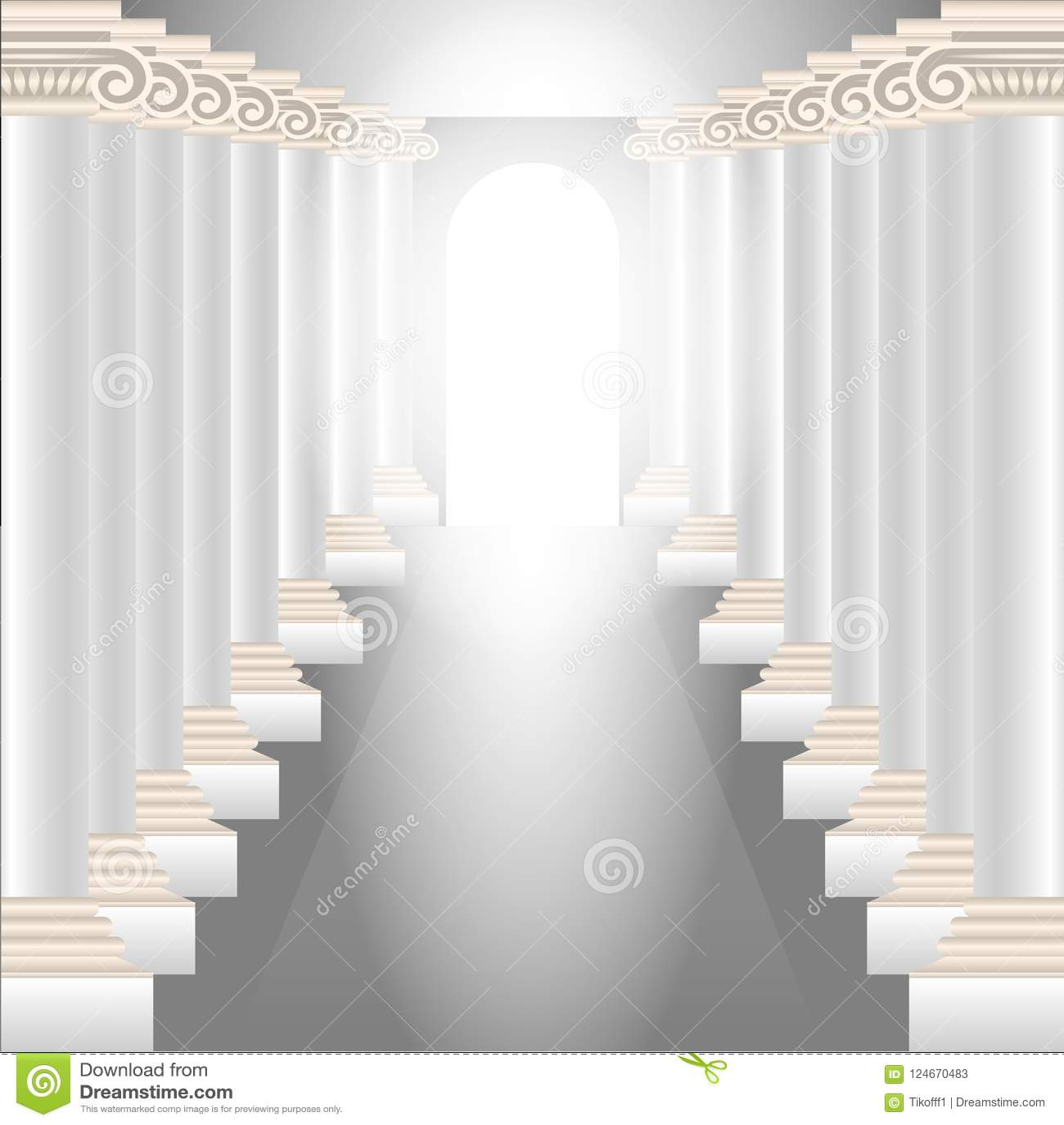 Pasillo de la columna Pasillo magnífico con columnas y una luz divina que brilla intensamente en el extremo