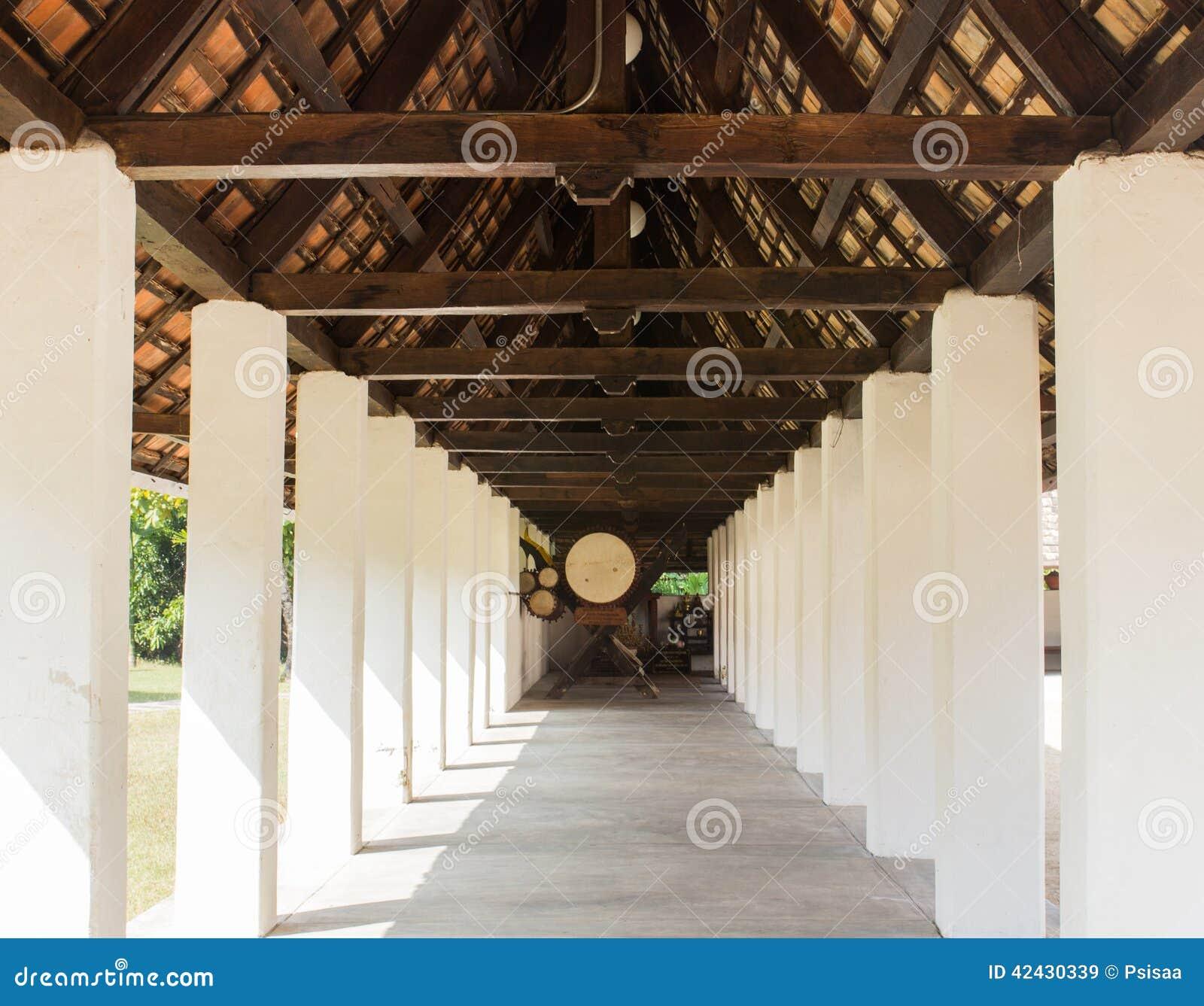 Pasillo de la perspectiva en templo asiático