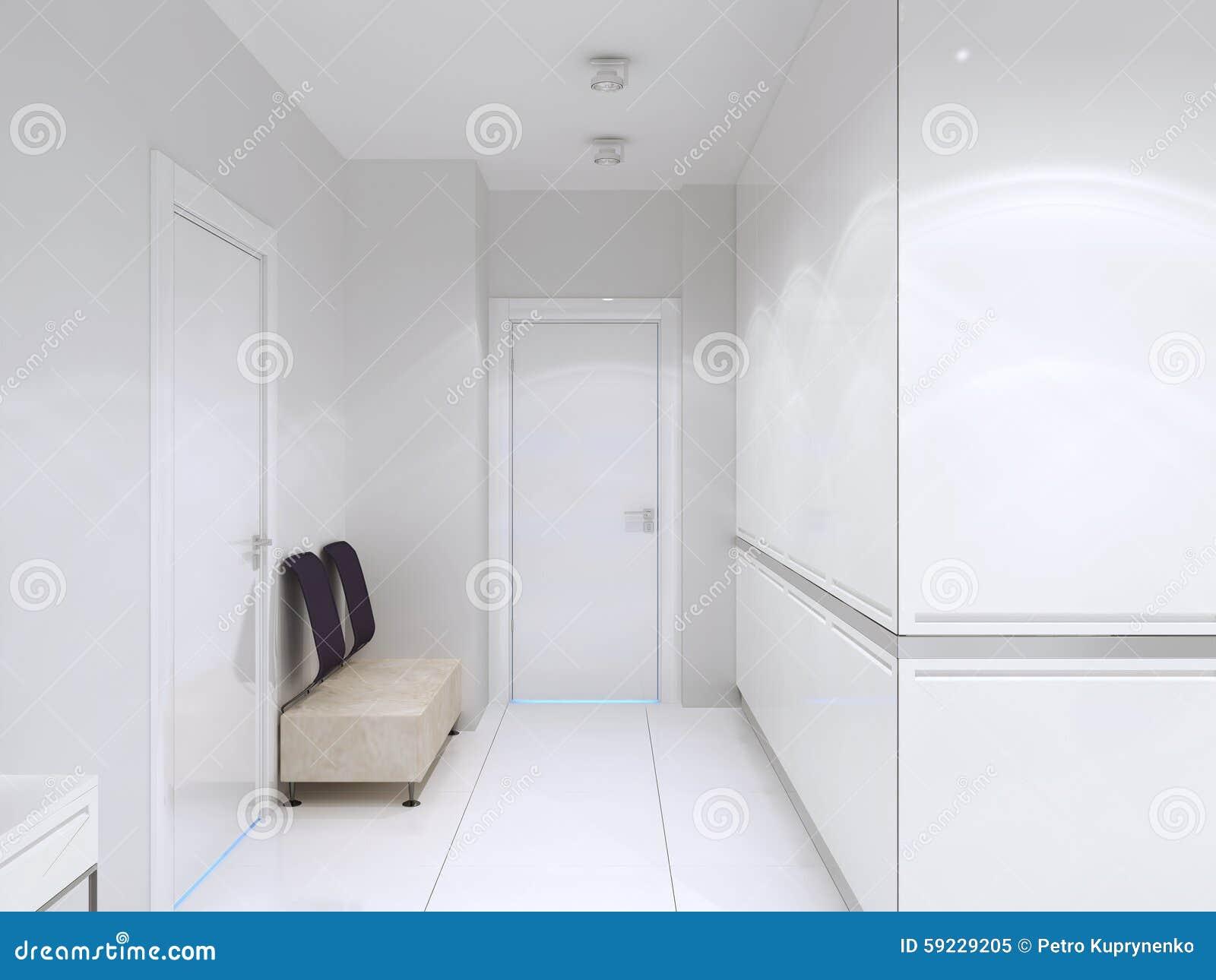 Pasillo minimalista en hotel de lujo