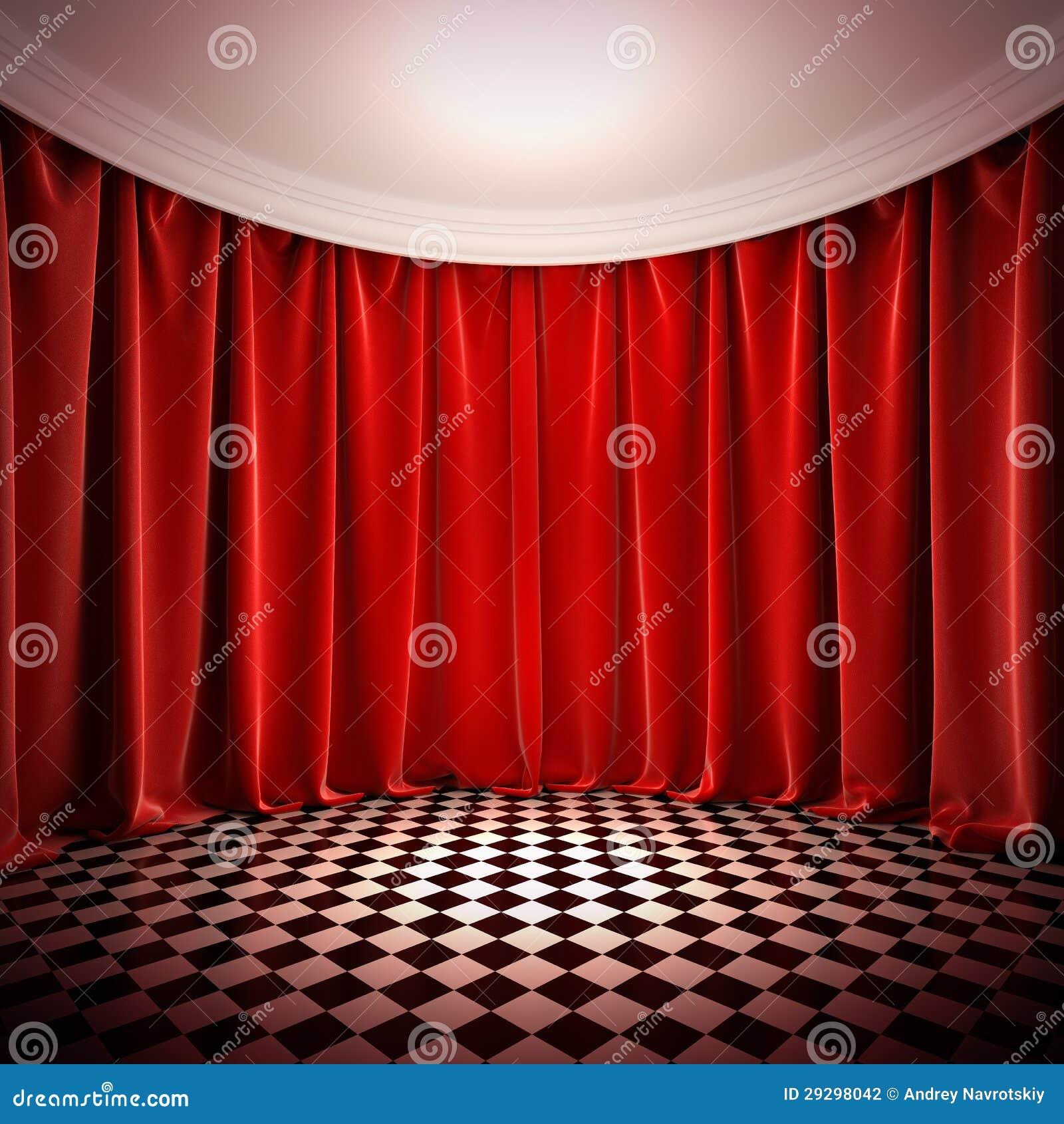 Pasillo vac o con las cortinas rojas stock de ilustraci n for Cortinas para pasillos