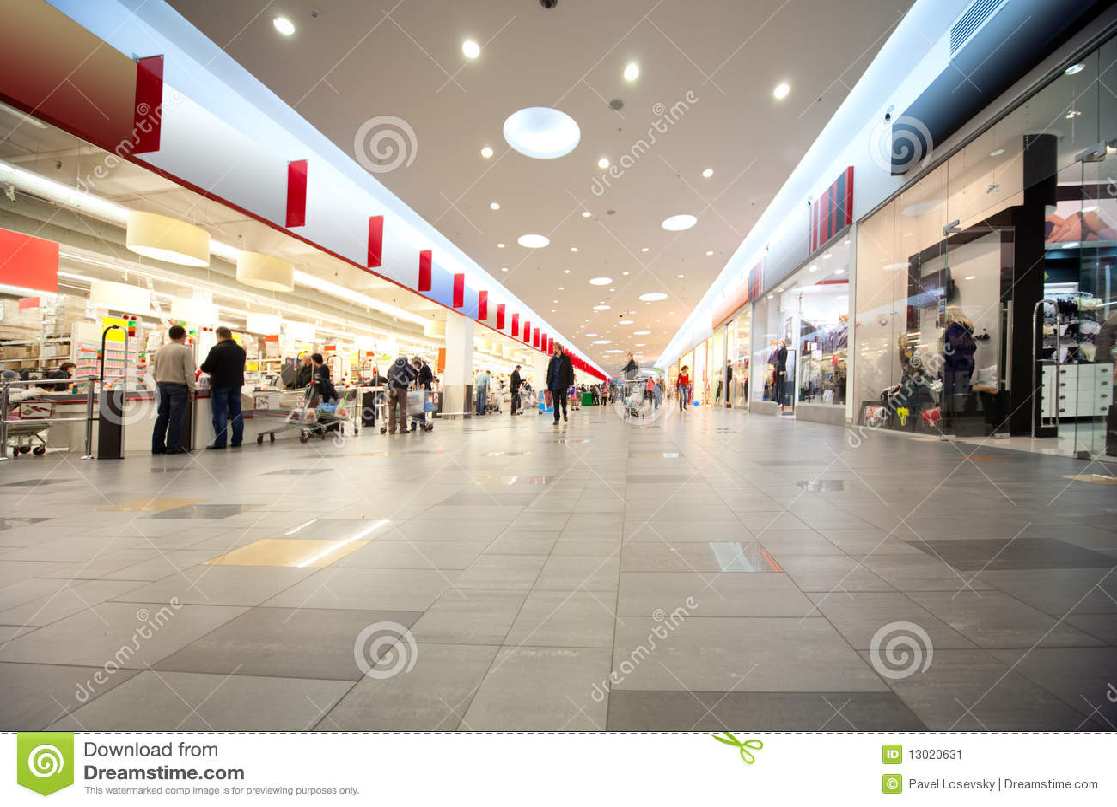 Intermitente en un centro comercial