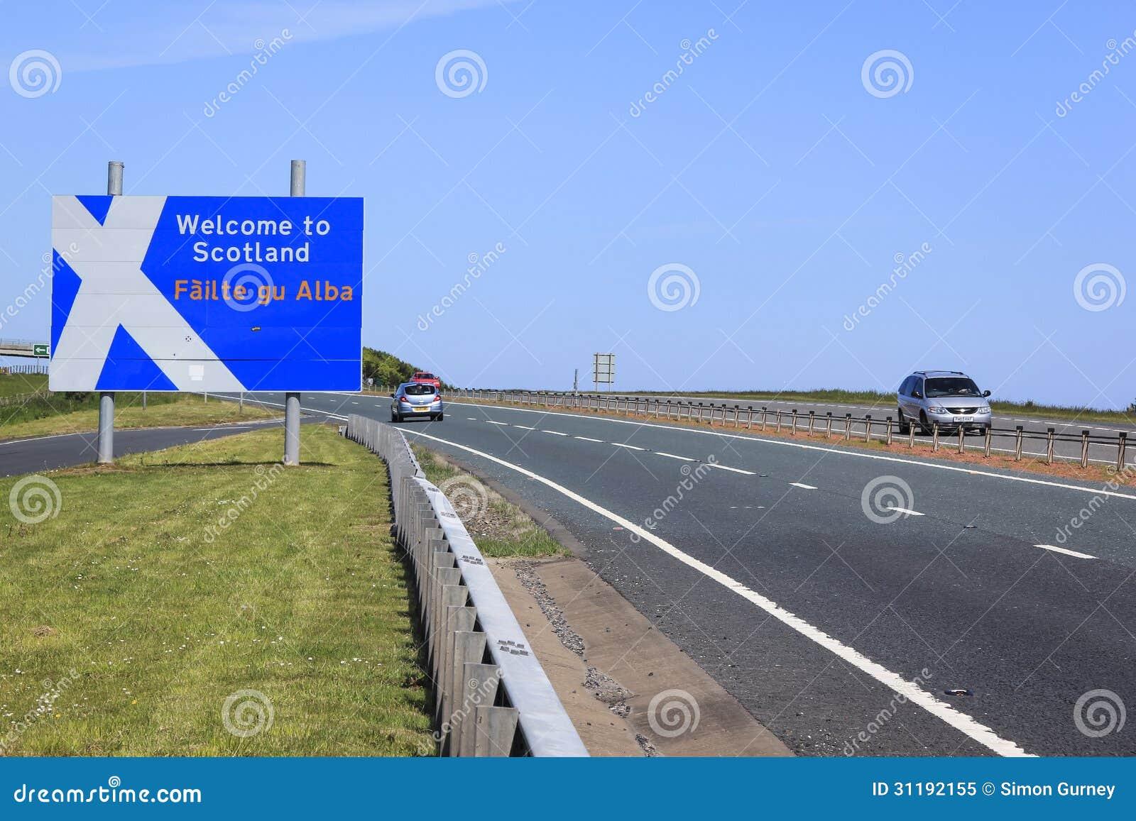 paso de frontera de inglaterra escocia imagen editorial