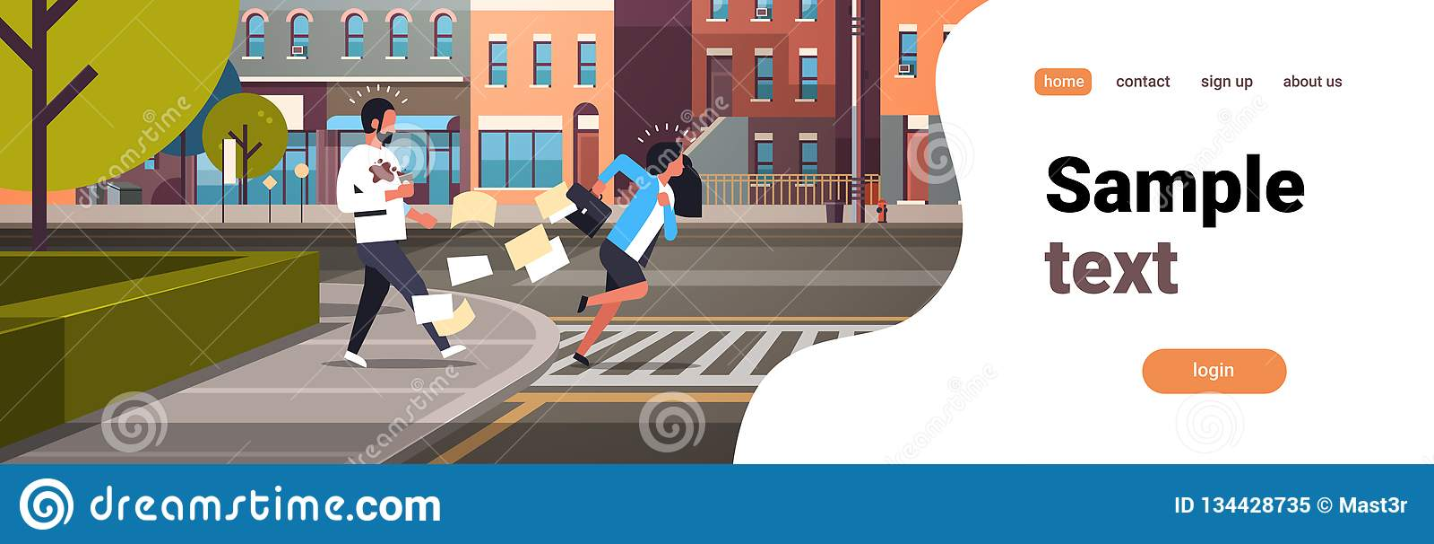 Paso de peatones de funcionamiento cansado de la mujer de negocios que empuja al hombre con el plano horizontal del fondo de las