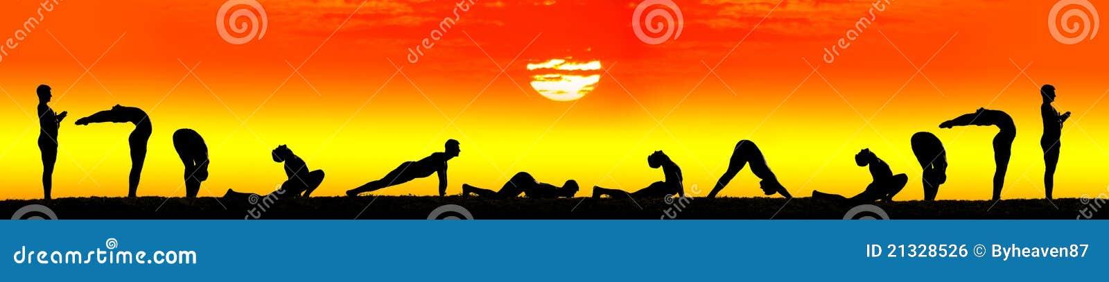 Pasos de progresión del saludo namaskar del sol del surya de la yoga
