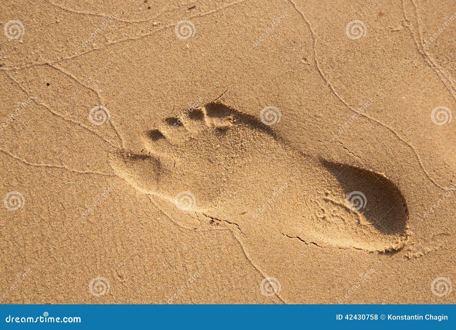 Pasos en arenoso en la playa