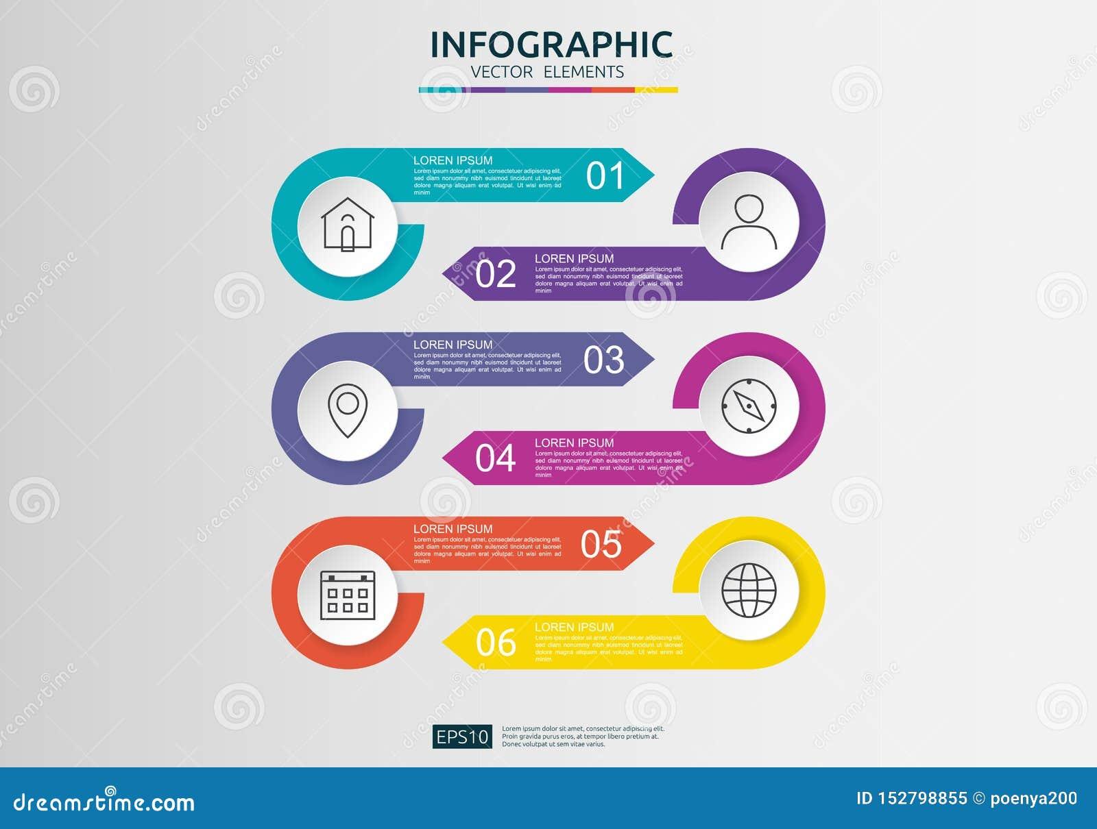 6 pasos infographic plantilla del dise?o de la cronolog?a con la etiqueta del papel 3D, c?rculos integrados Concepto del negocio