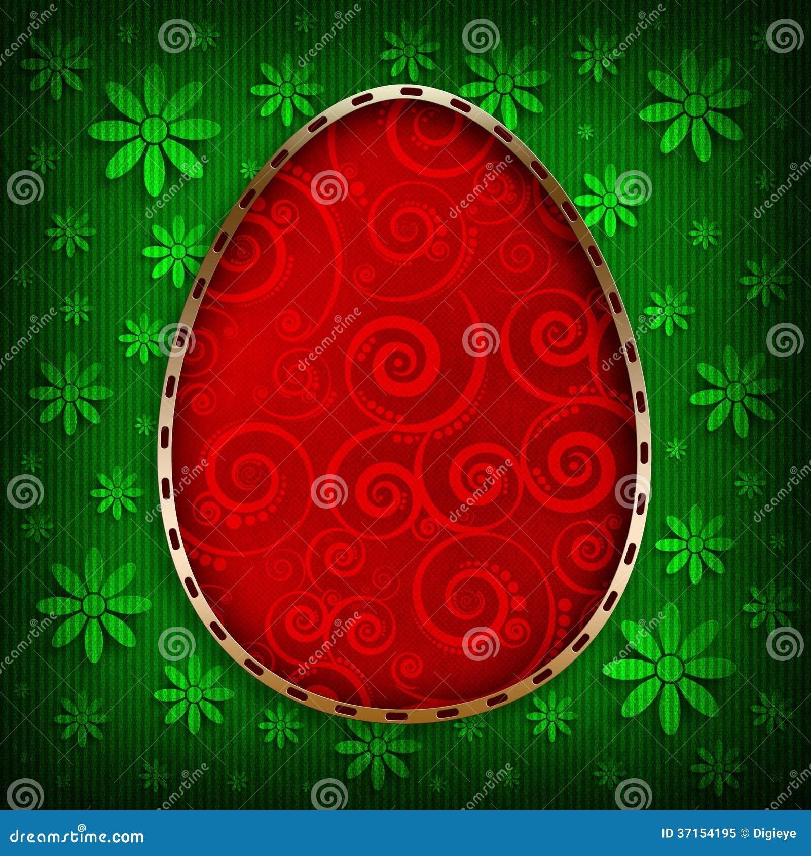 Pasqua felice - l uovo rosso su verde ha modellato il fondo