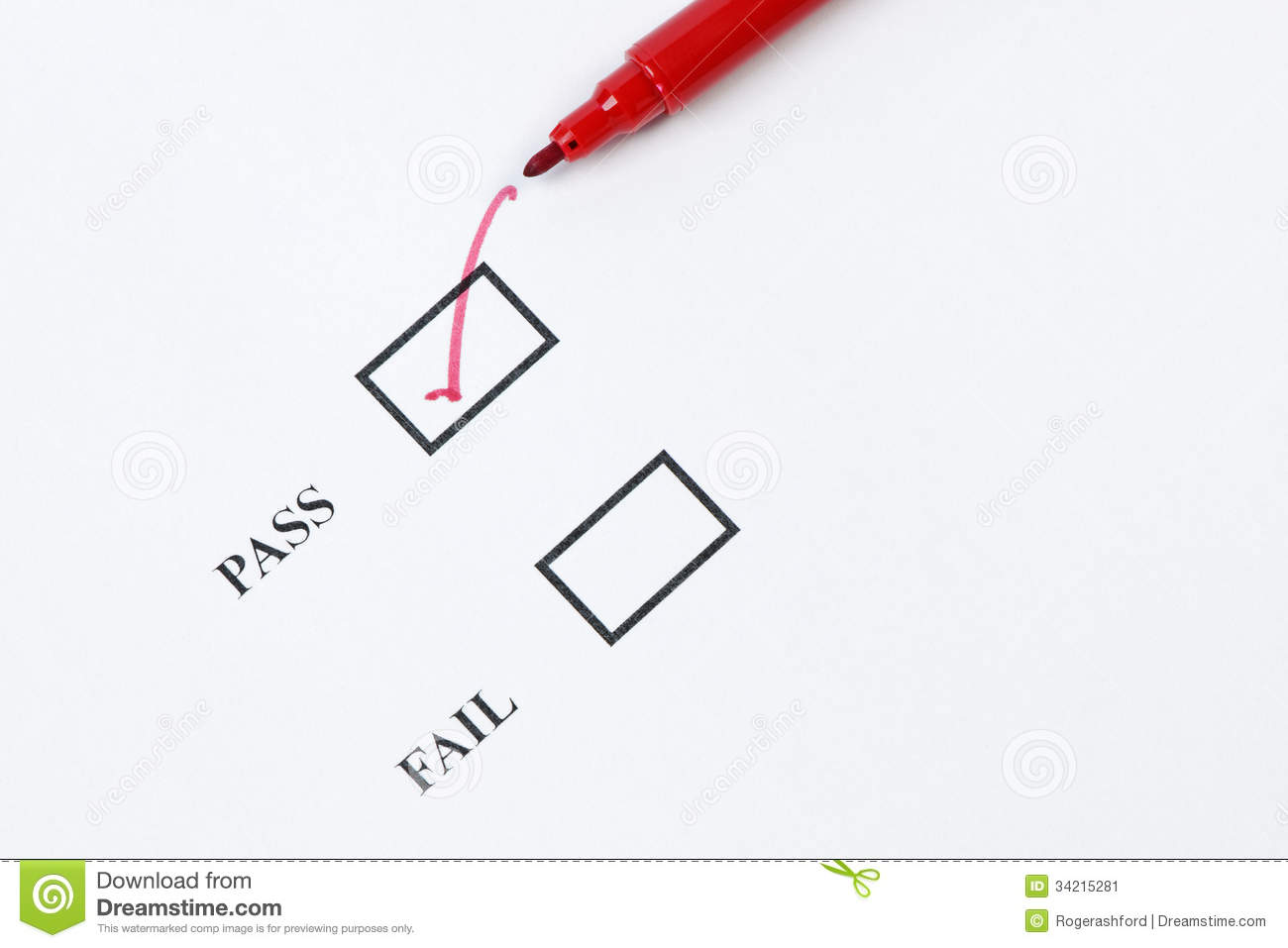 pass - exam mark or quality control stock image
