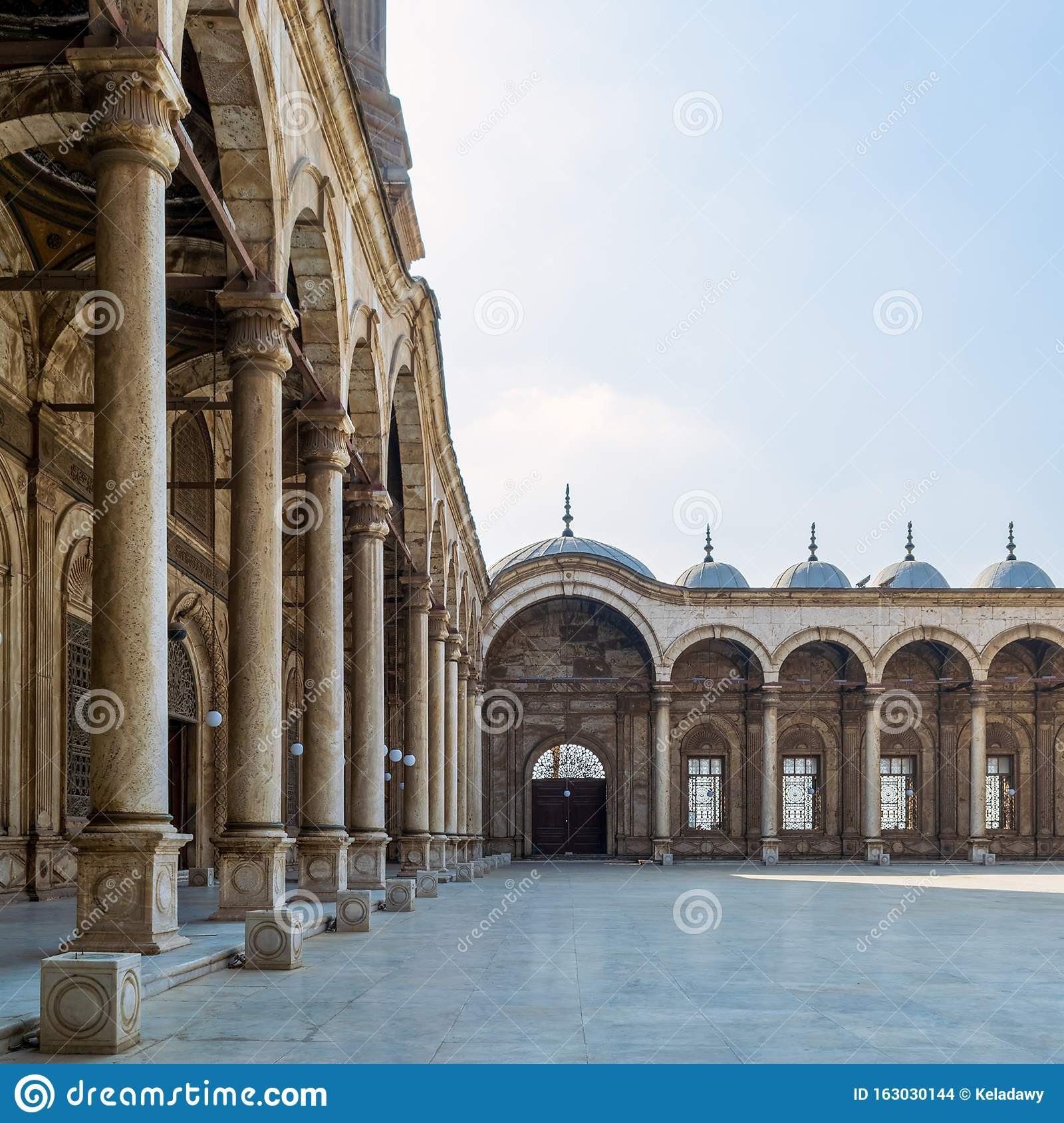 Passage at the courtyard of the Great Mosque of Muhammad Ali, Alabaster Mosque, Cairo Citadel, Egypt