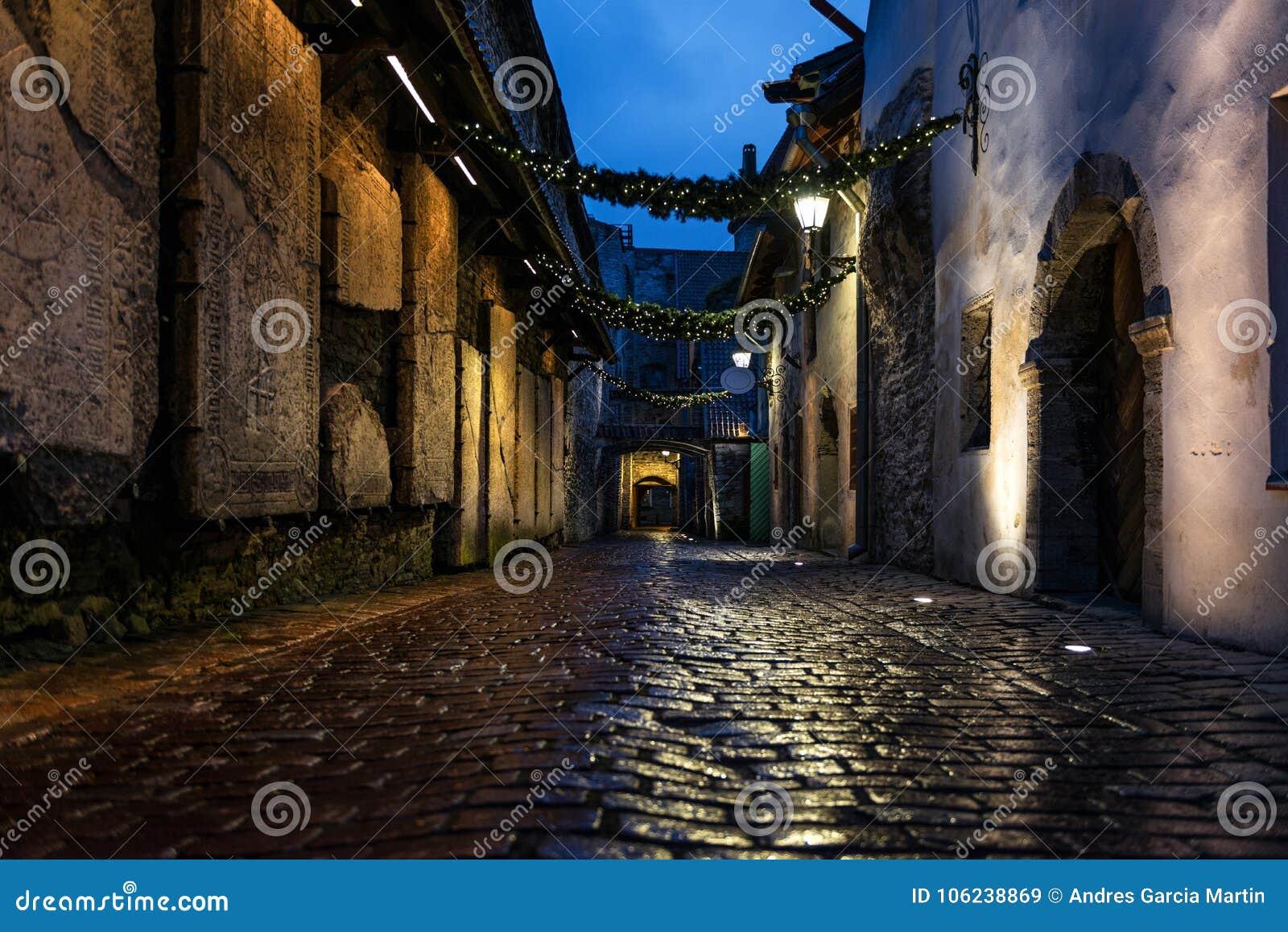 Passage för ` s för St Catherine på natten i Tallinn