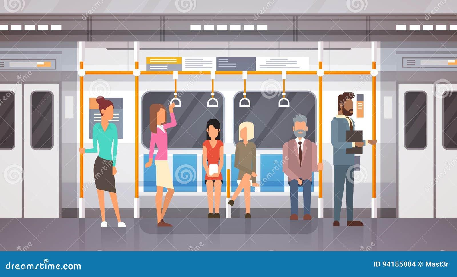 Passageiros no transporte público da cidade moderna do carro de metro, bonde subterrâneo dos povos