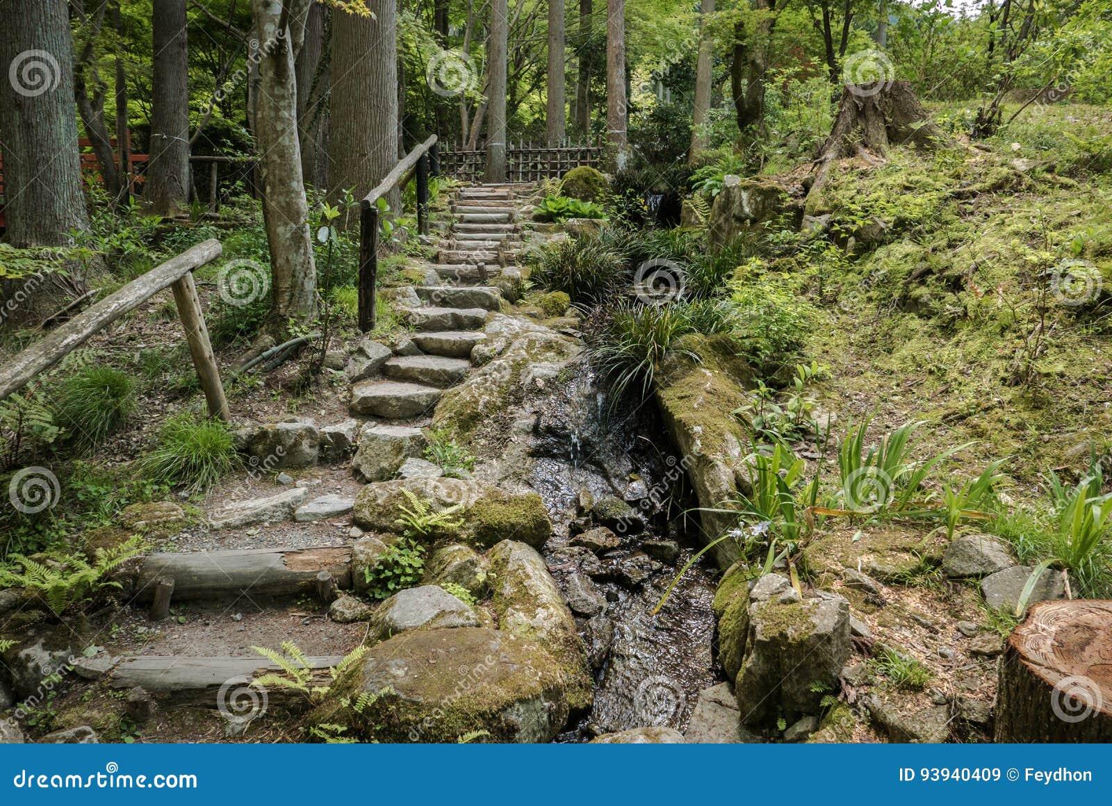 Passagem do jardim no complexo Sanzen-no templo