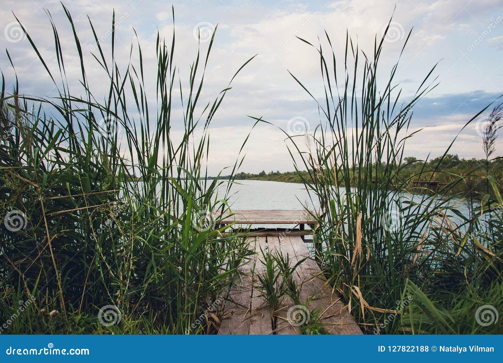 Passages couverts en bois pour des pêcheurs sur la rivière