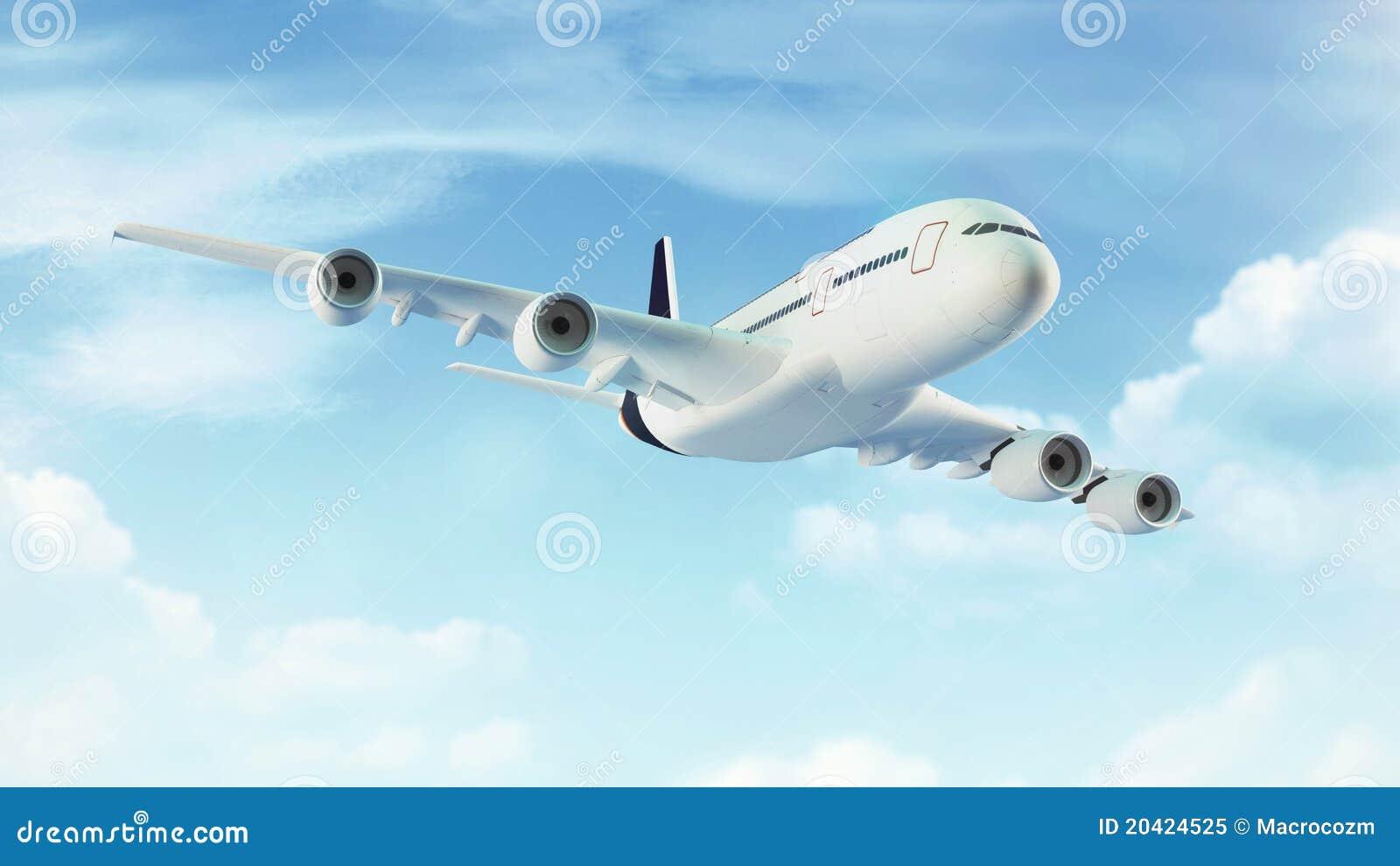 Passagierflugzeug im blauen Himmel mit Wolken