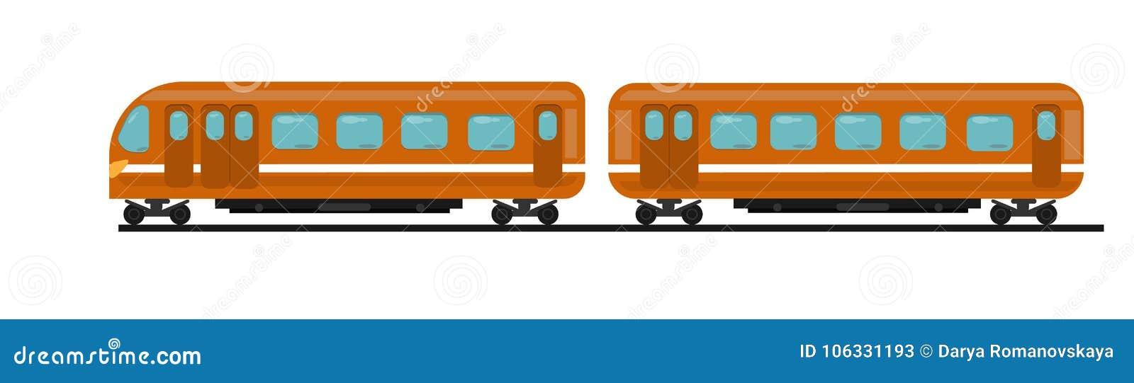 Passagierstrein van oranje kleur van twee auto s op sporen