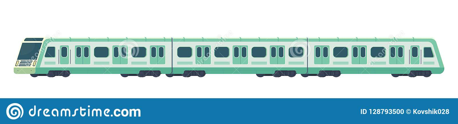Passanger modern electric high-speed train. Railway subway or metro transport. Underground train Vector illustration