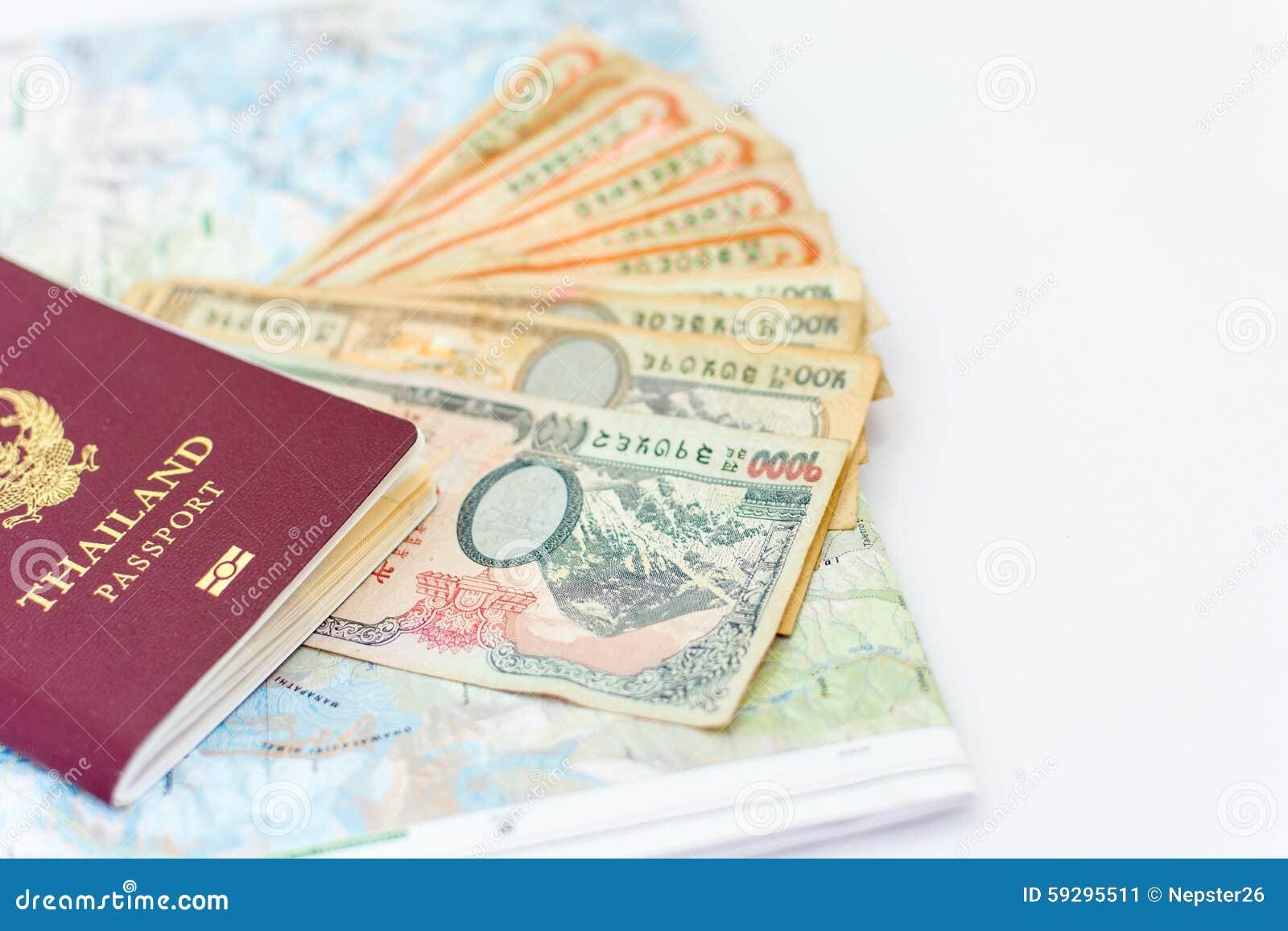 Passaporte de Tailândia para o turismo com o mapa a de Nepal da região de Annapurna