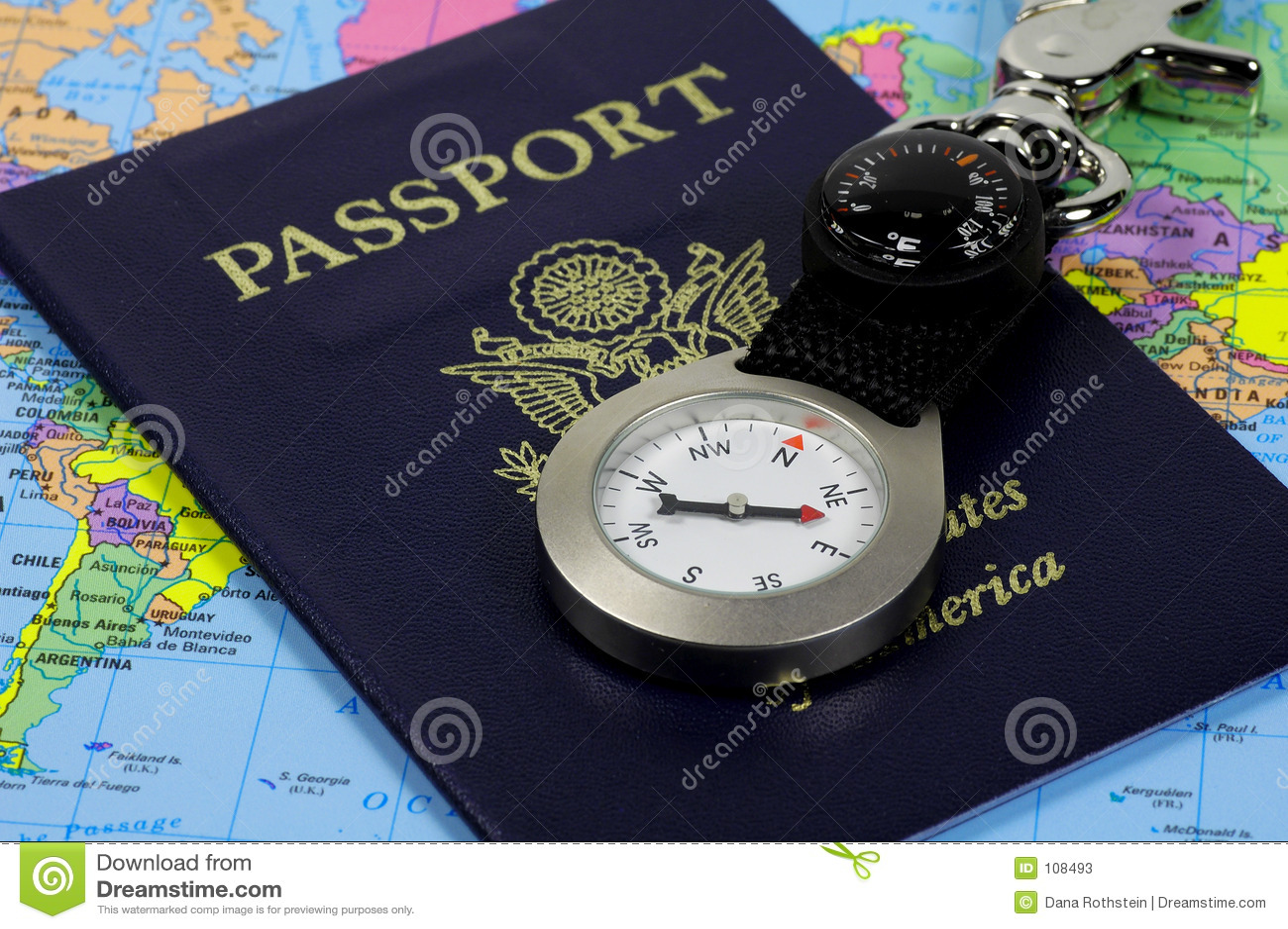 Passaporte e compasso