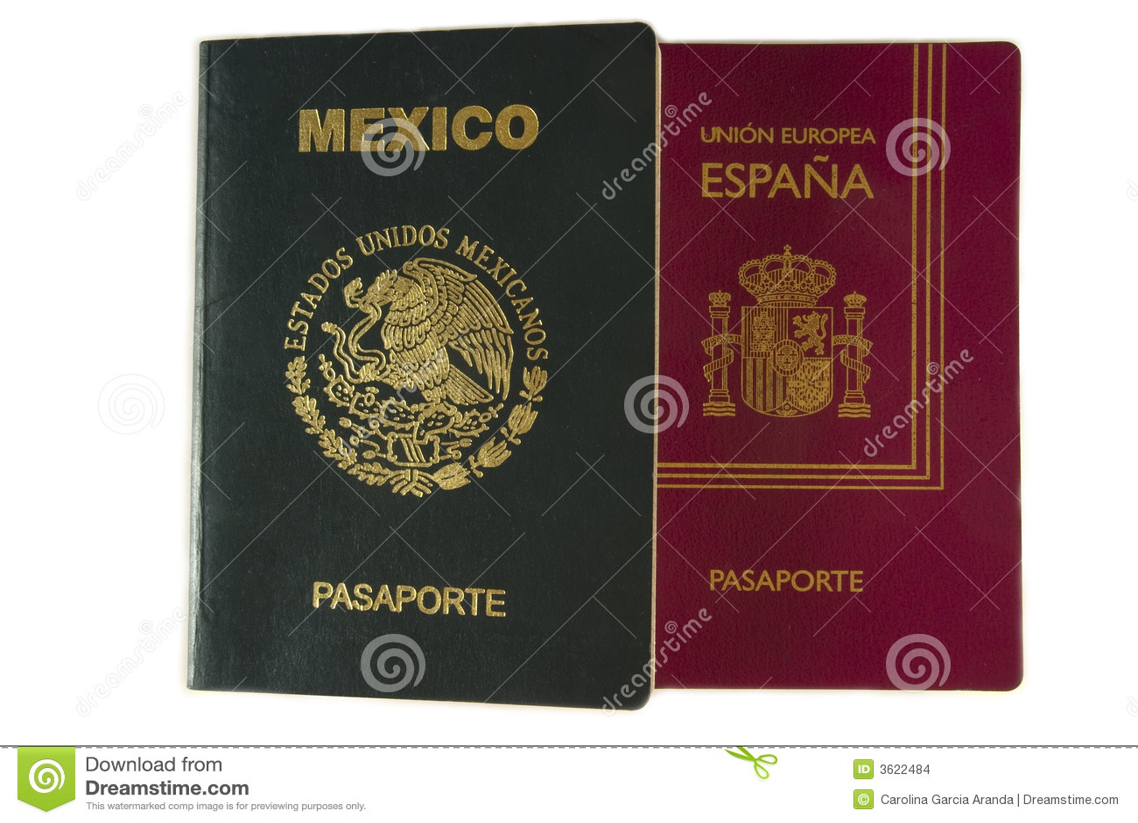 Passaporte mexicano e espanhol