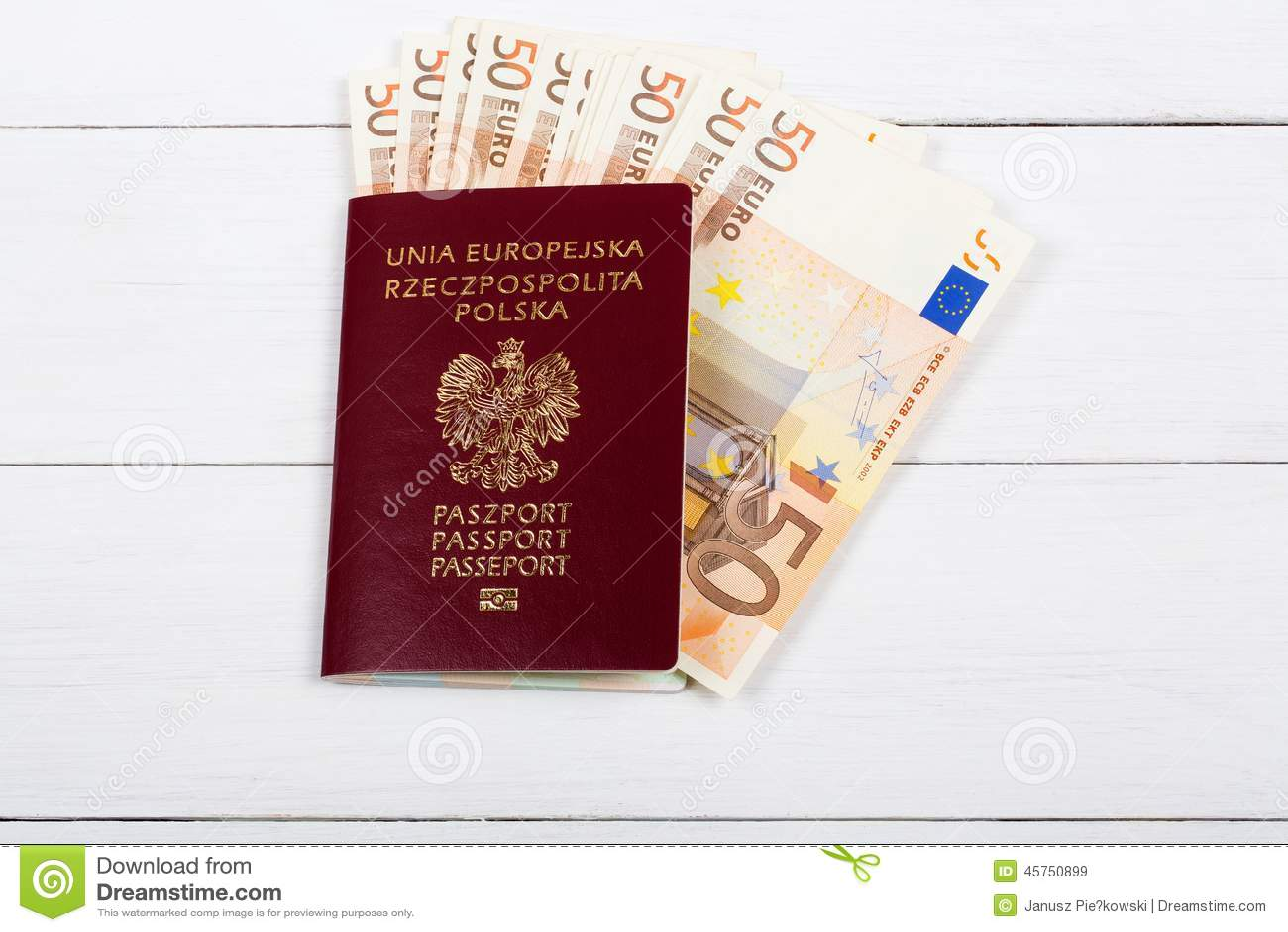 Passaporto polacco con la moneta europea