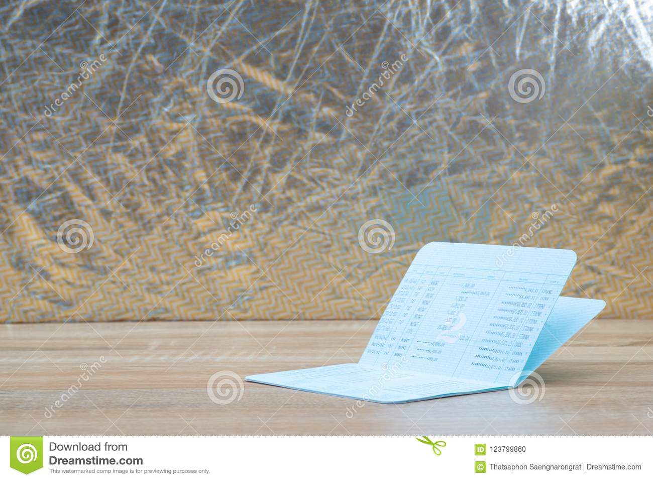Download Passbook Or Account Book, Statement On Wooden Working Table, Sav  Stock Photo
