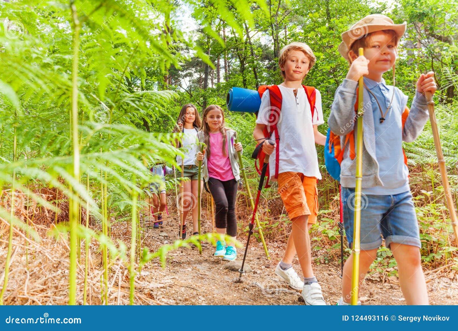 Passeggiata dei bambini con l escursione dei pali fra la felce