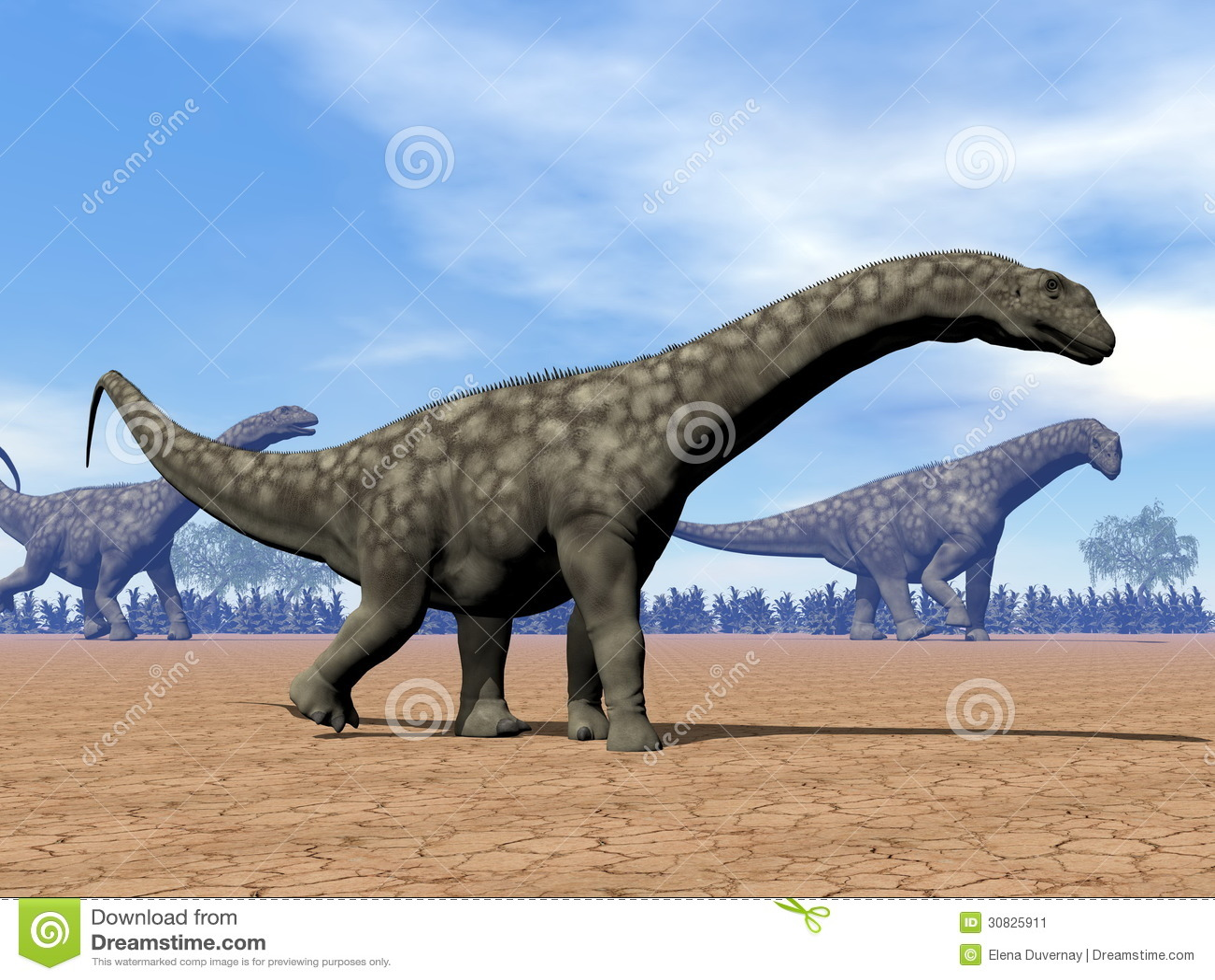 Passeggiata dei dinosauri del Argentinosaurus - 3D rendono