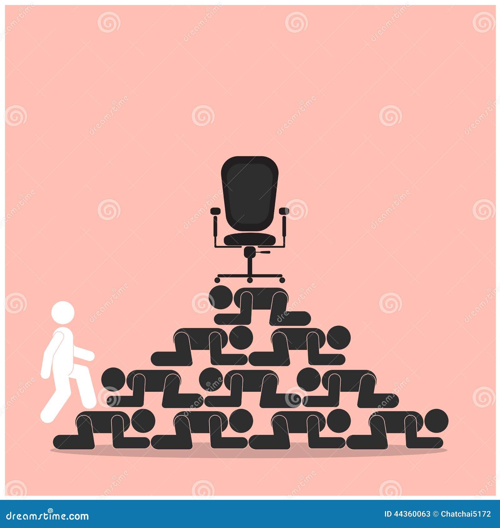 Passeggiata del vincitore sopra le scale del concetto del perdente Concetto della concorrenza