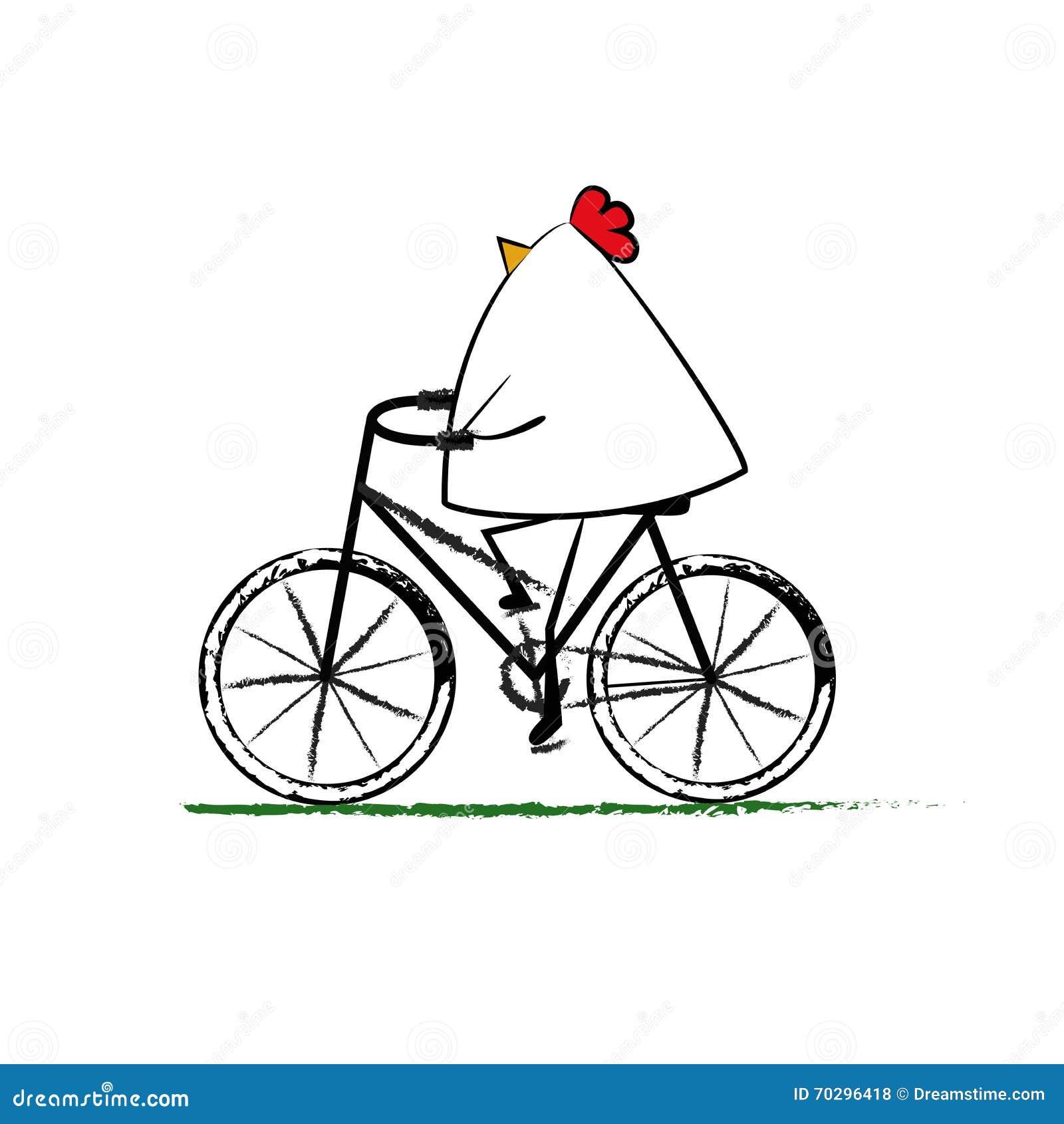 Passeio da galinha uma bicicleta