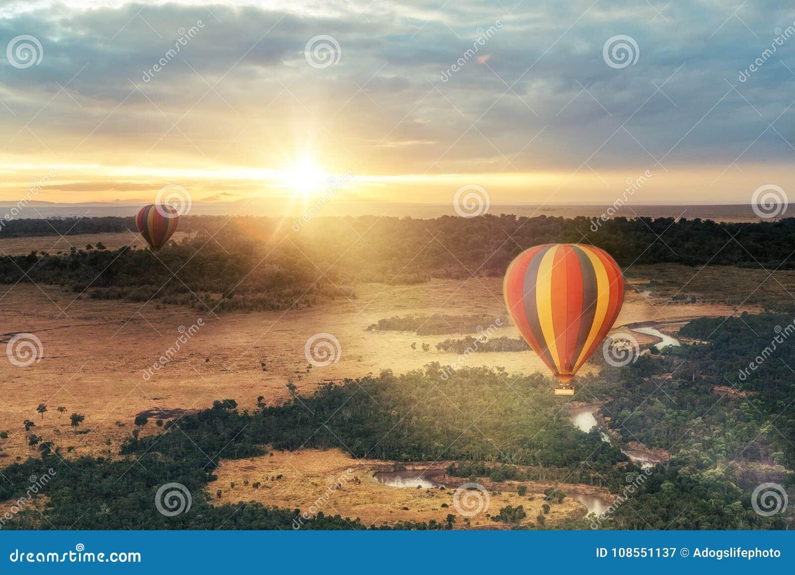 Passeio do balão de ar quente sobre o Masai Mara