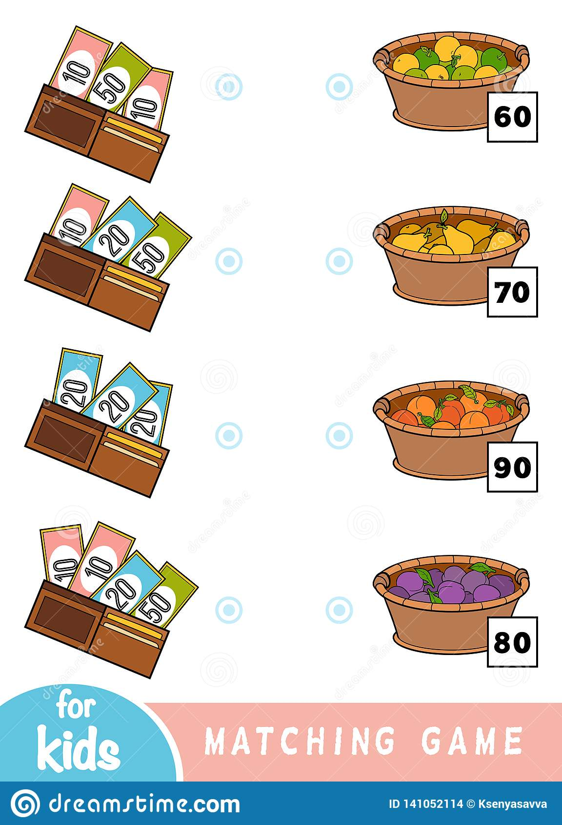 Passend spel voor kinderen Tel hoeveel geld in elke portefeuille is en kies de correcte prijs Een reeks vruchten