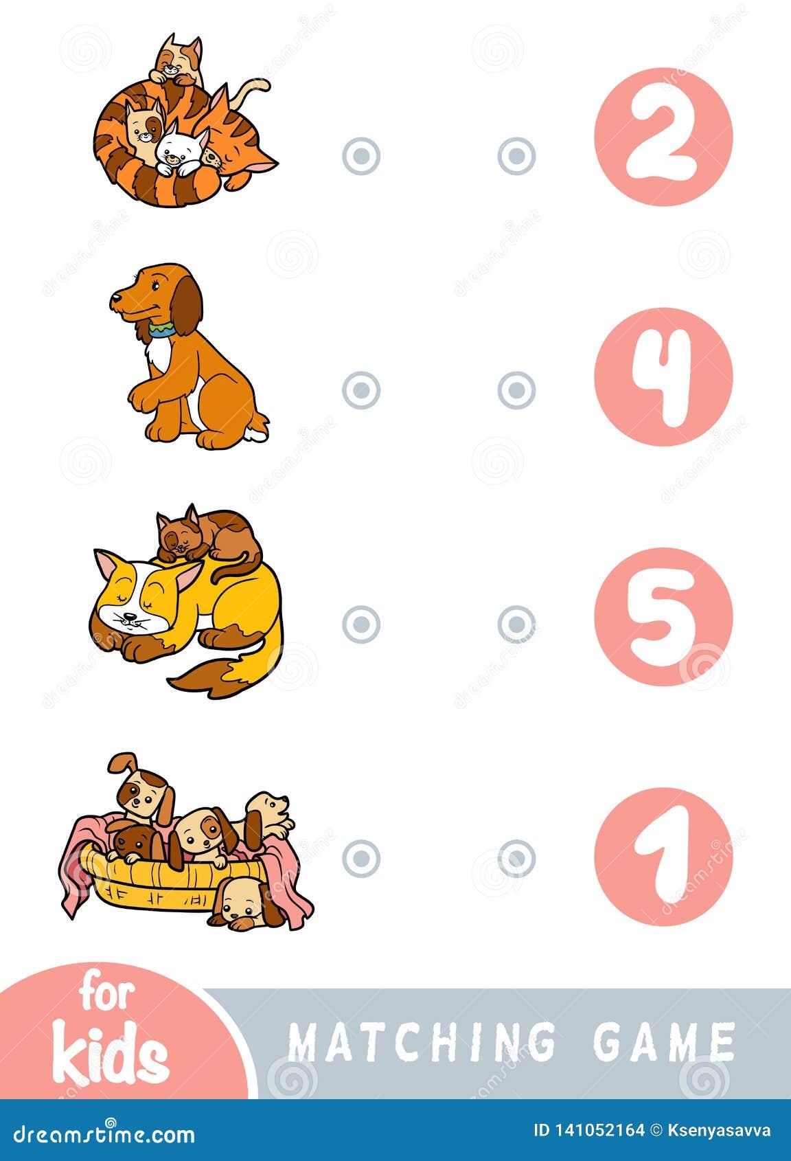 Passend spel voor kinderen Tel hoeveel honden en katten en het correcte aantal kies