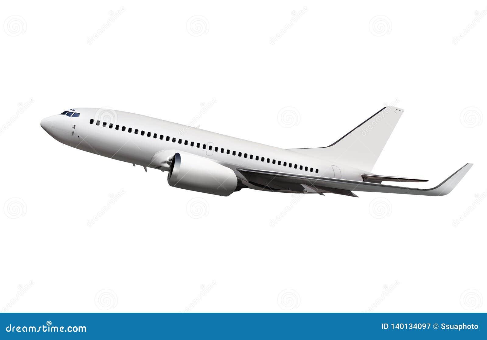 Passenger aircraft isolated on bg