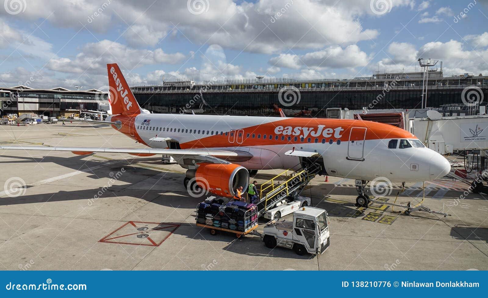 Passenger airplane docking at Paris Orly Airport