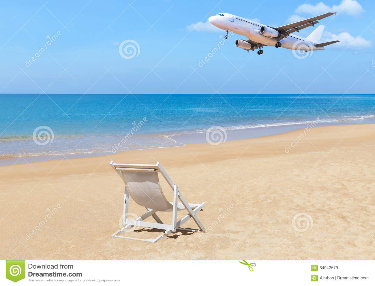 Pleasing Passenger Airplane Flying Landing Above Tropical Beach With Squirreltailoven Fun Painted Chair Ideas Images Squirreltailovenorg