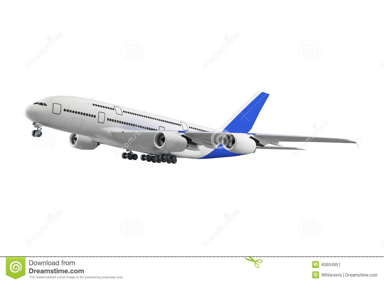 Passenger Airplane Isolated On White Background Stock ...