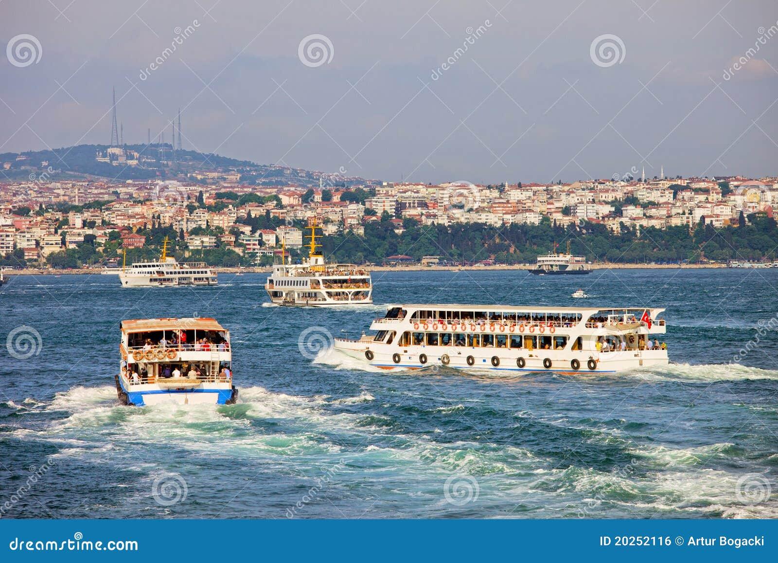 Passenger Boats on Bosphorus Strait